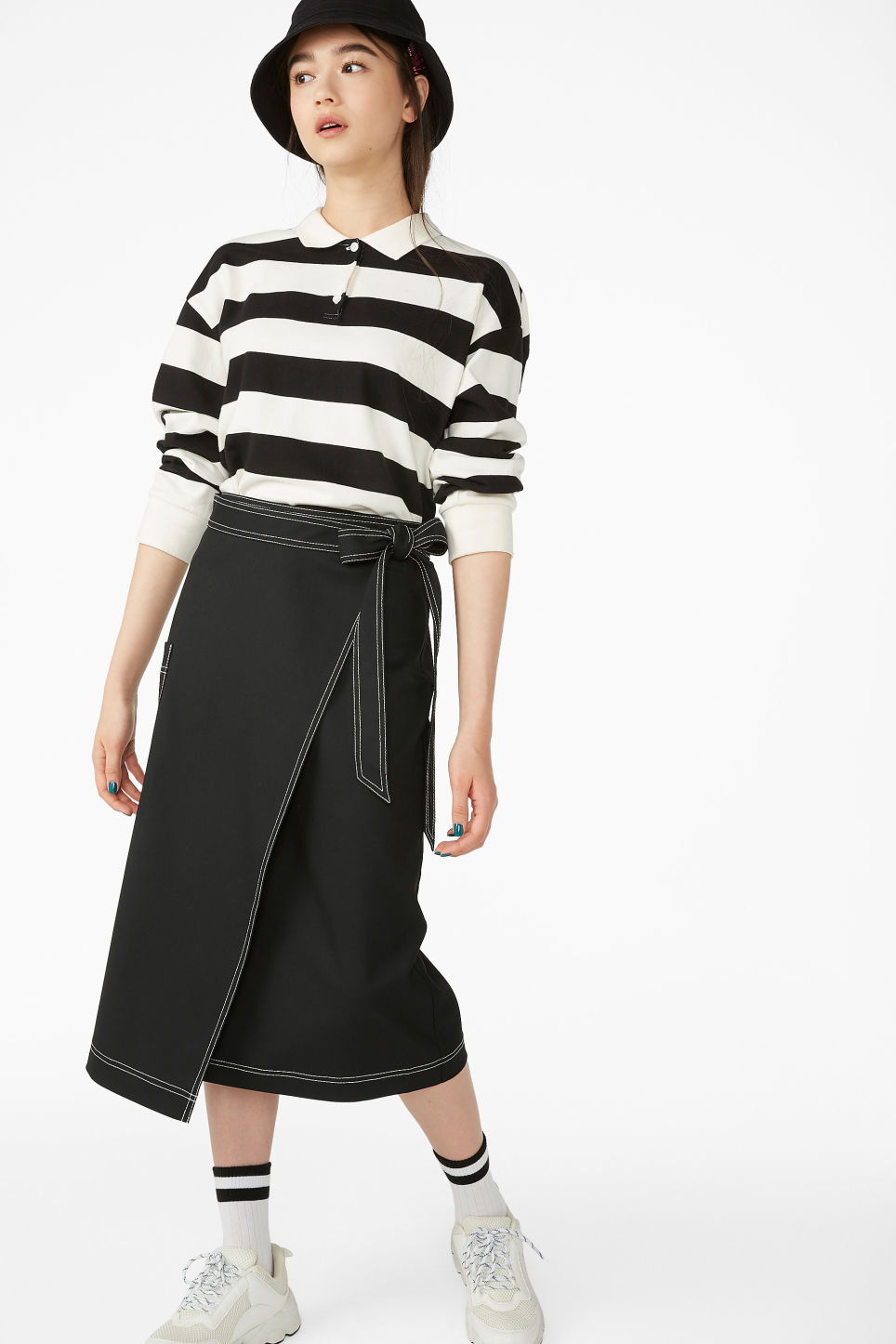 Model front image of Monki utility midi skirt in black