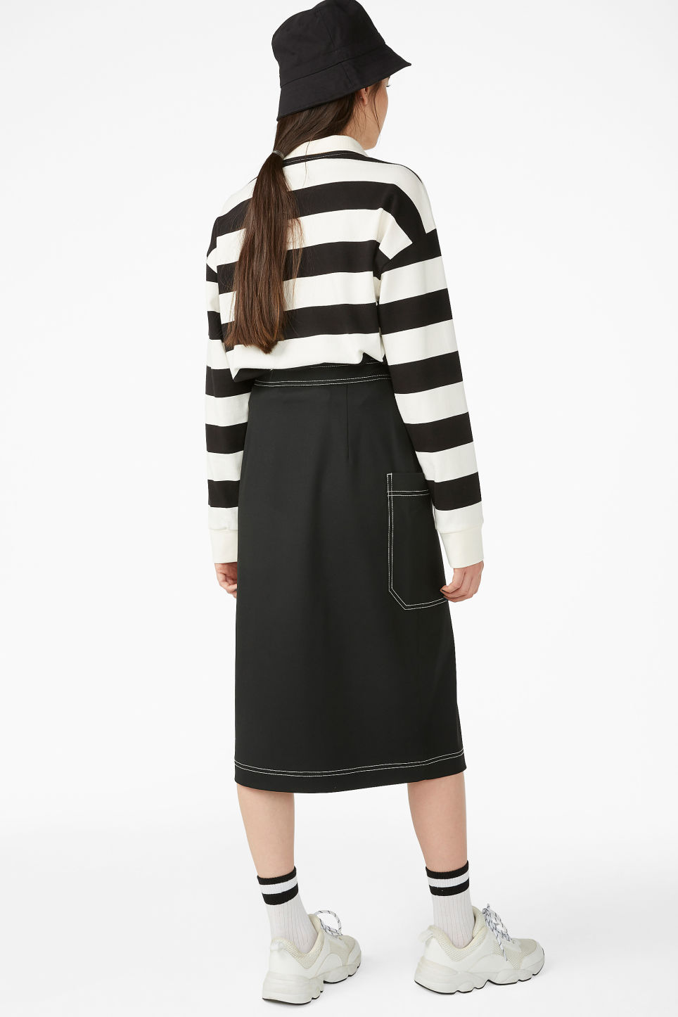 Model back image of Monki utility midi skirt in black