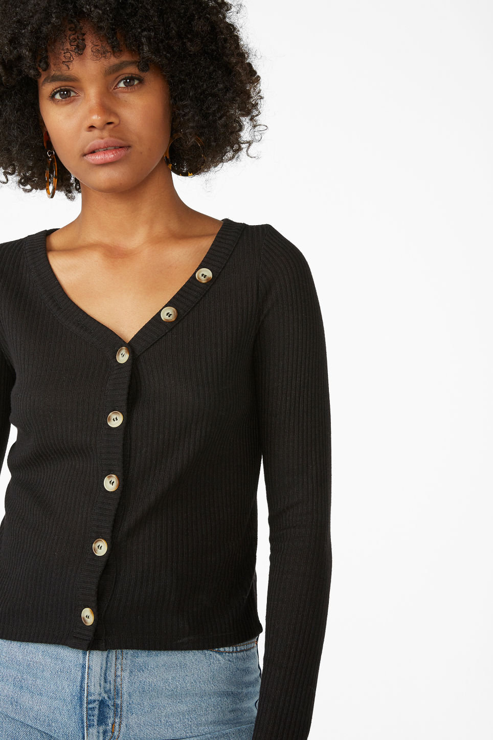 Model front image of Monki button-up top in black