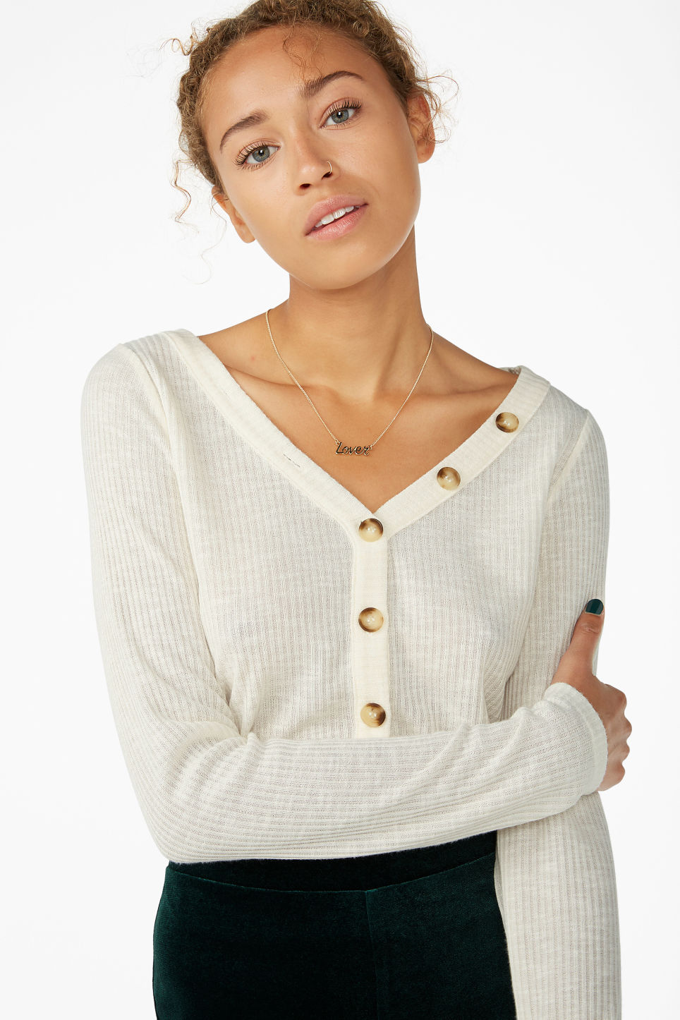 Model front image of Monki button-up top in white