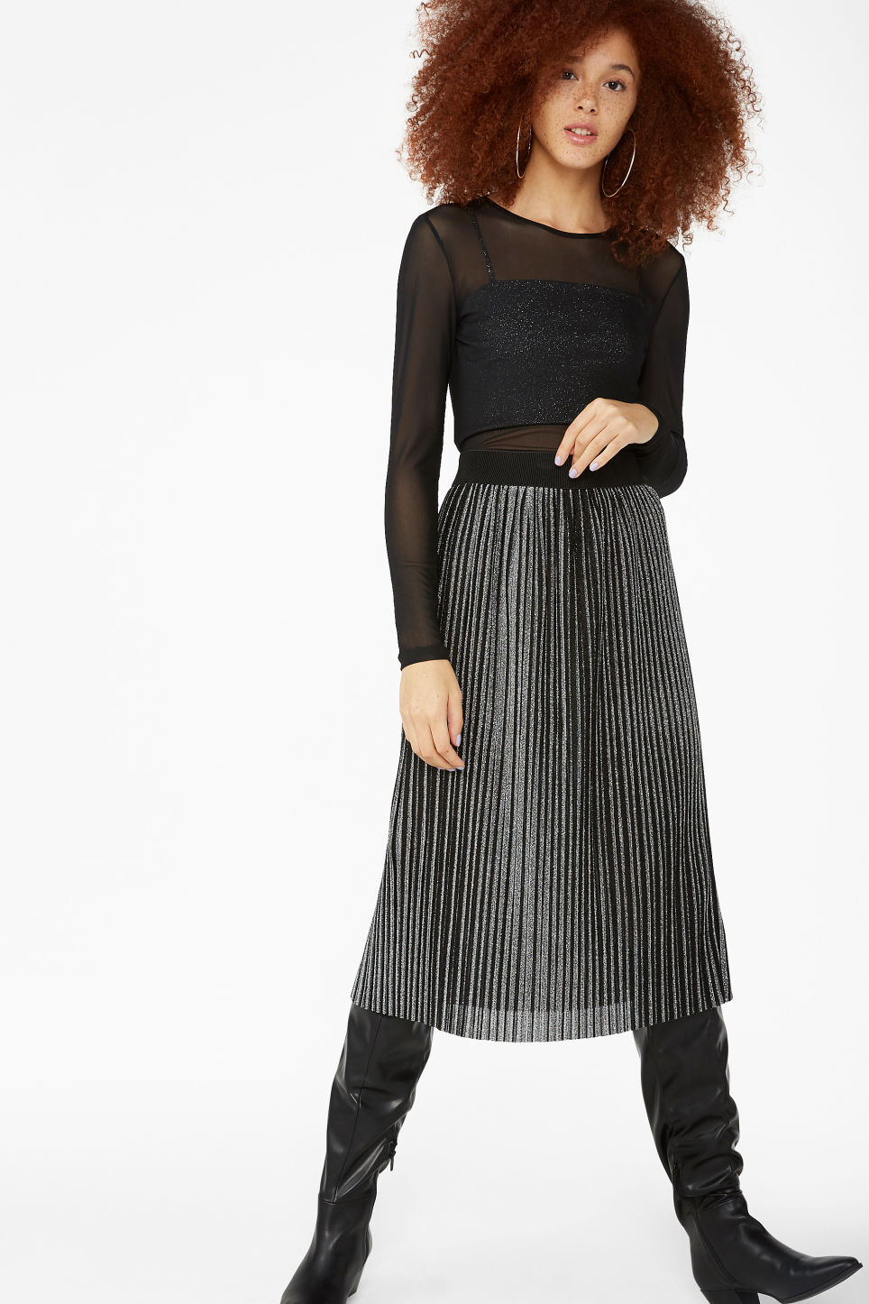 Model side image of Monki long-sleeved mesh top in black