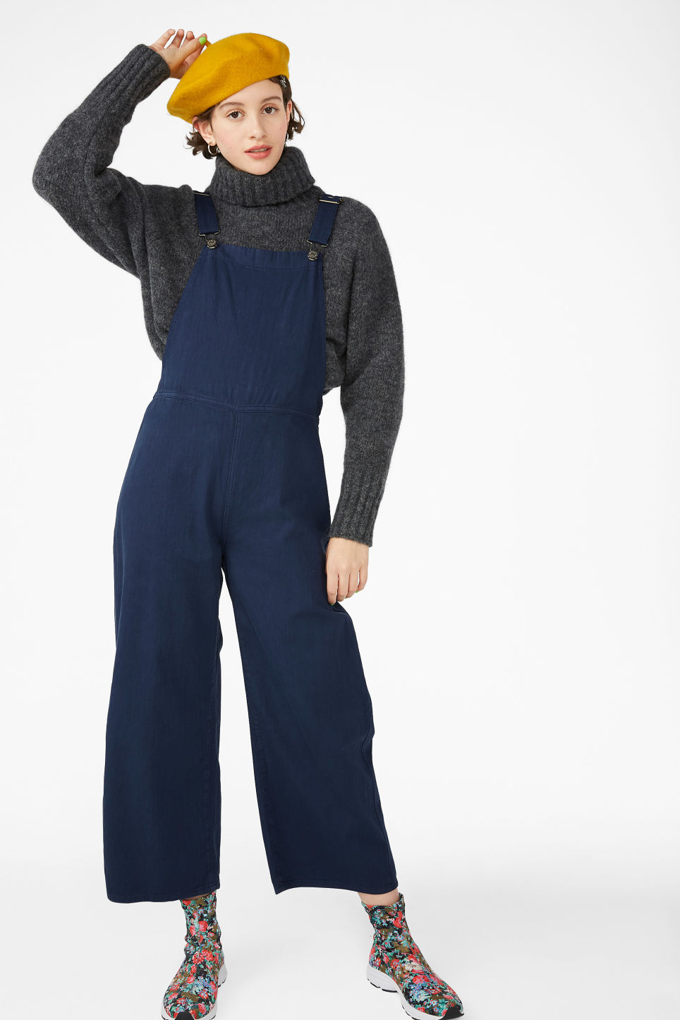 Model front image of Monki classic cotton dungarees in blue