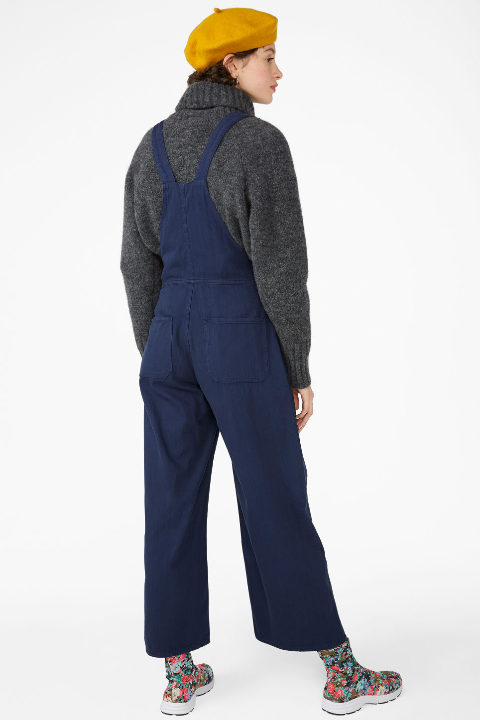 Model back image of Monki classic cotton dungarees in blue