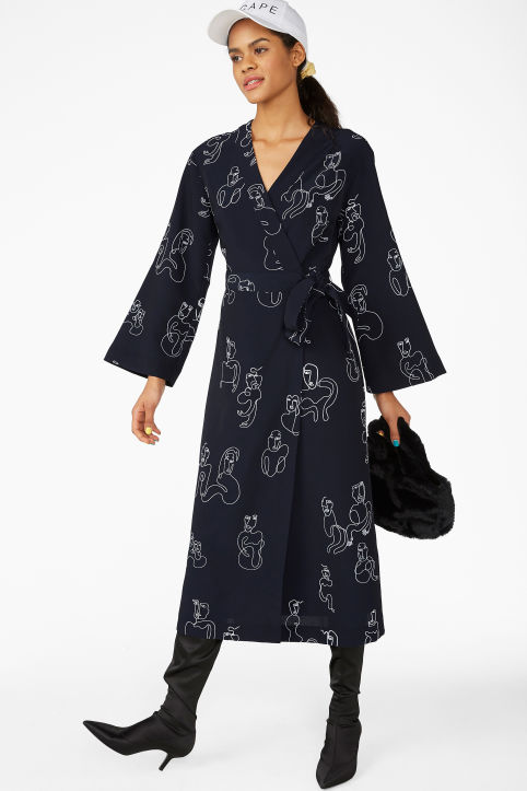 Long V-neck wrap dress