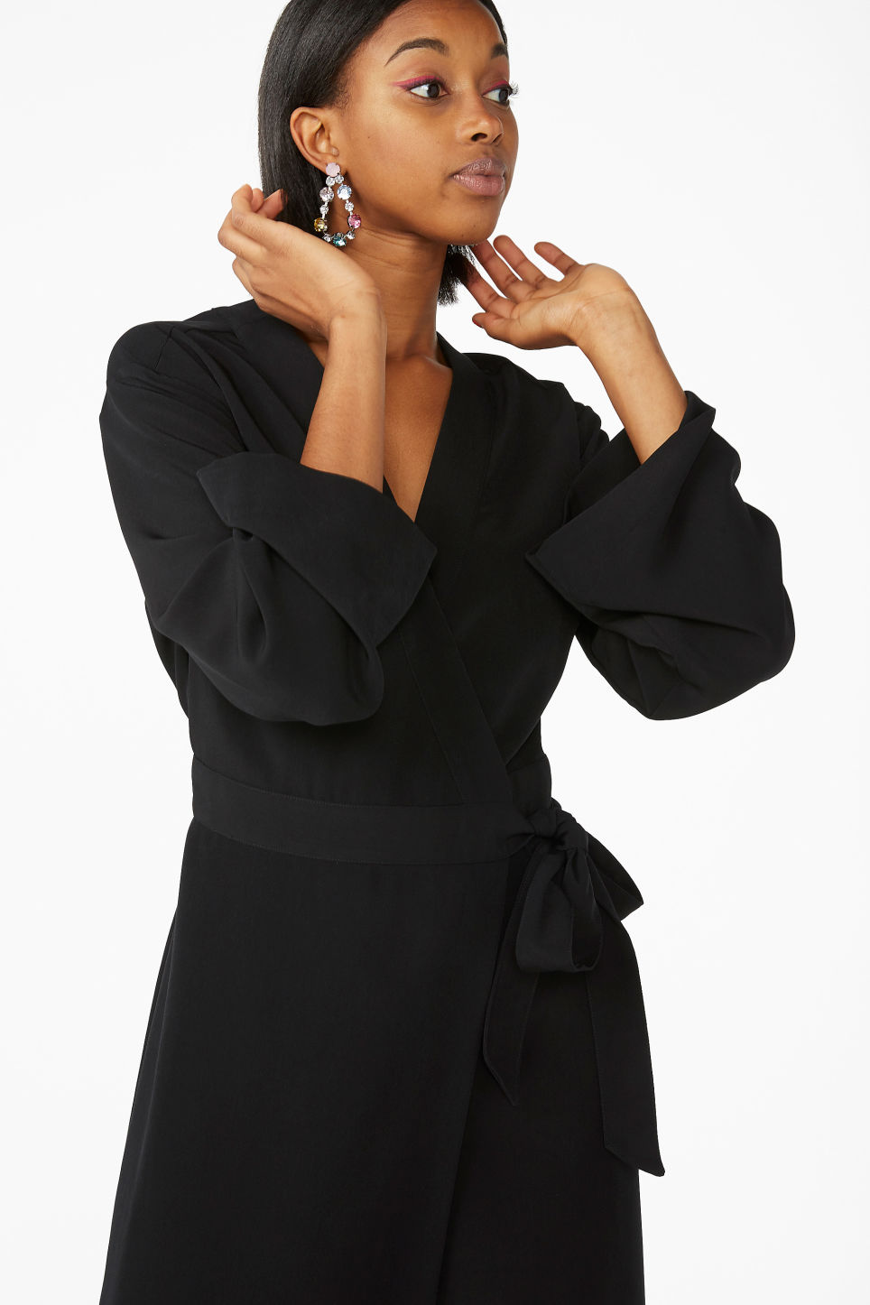 Model front image of Monki long v-neck wrap dress in black