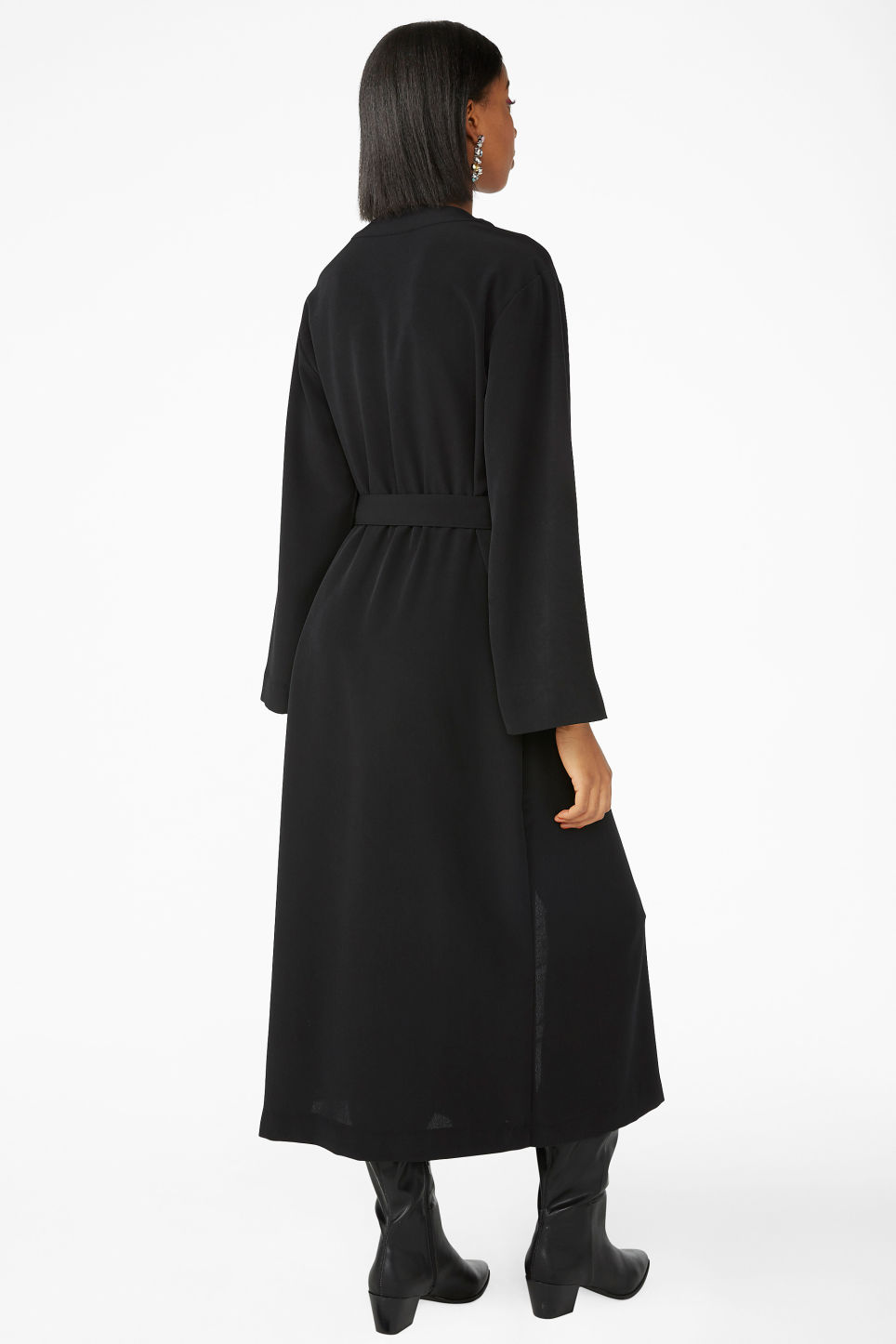 Model back image of Monki long v-neck wrap dress in black