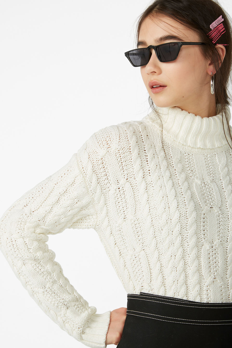 Model front image of Monki chunky polo sweater in white