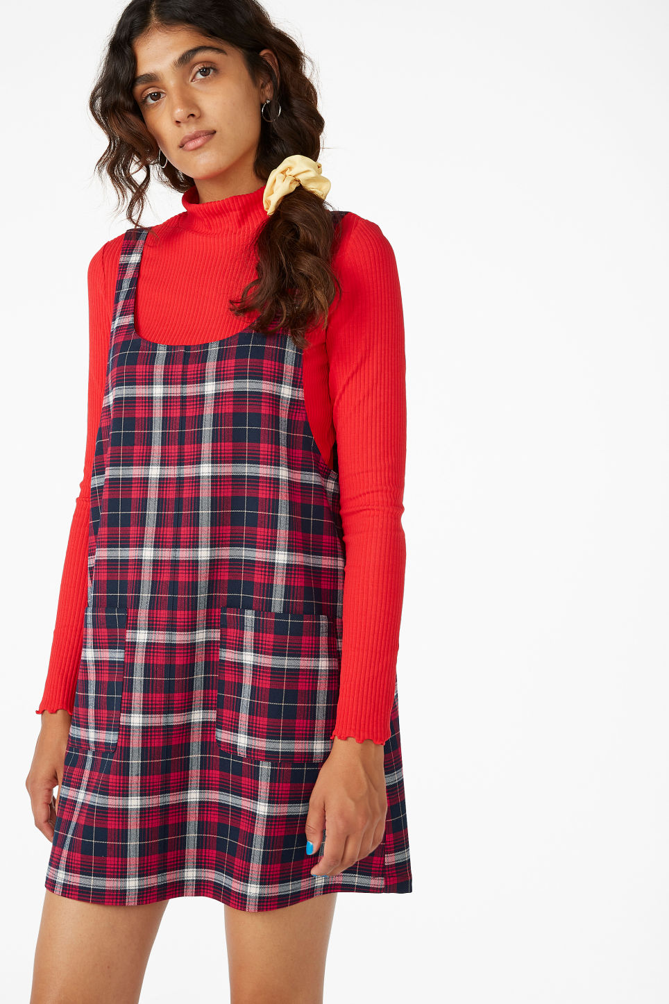 Model front image of Monki pinafore dress with pockets  in red