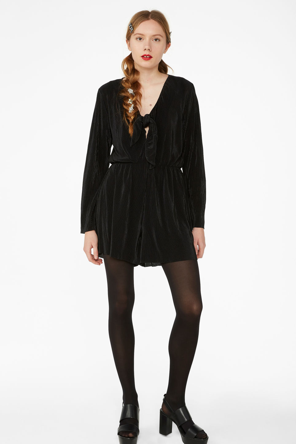 Model front image of Monki pleated playsuit in black