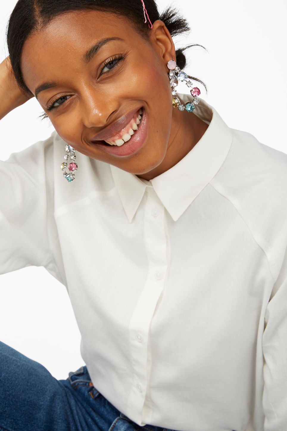 Model front image of Monki embellished stud earrings in silver