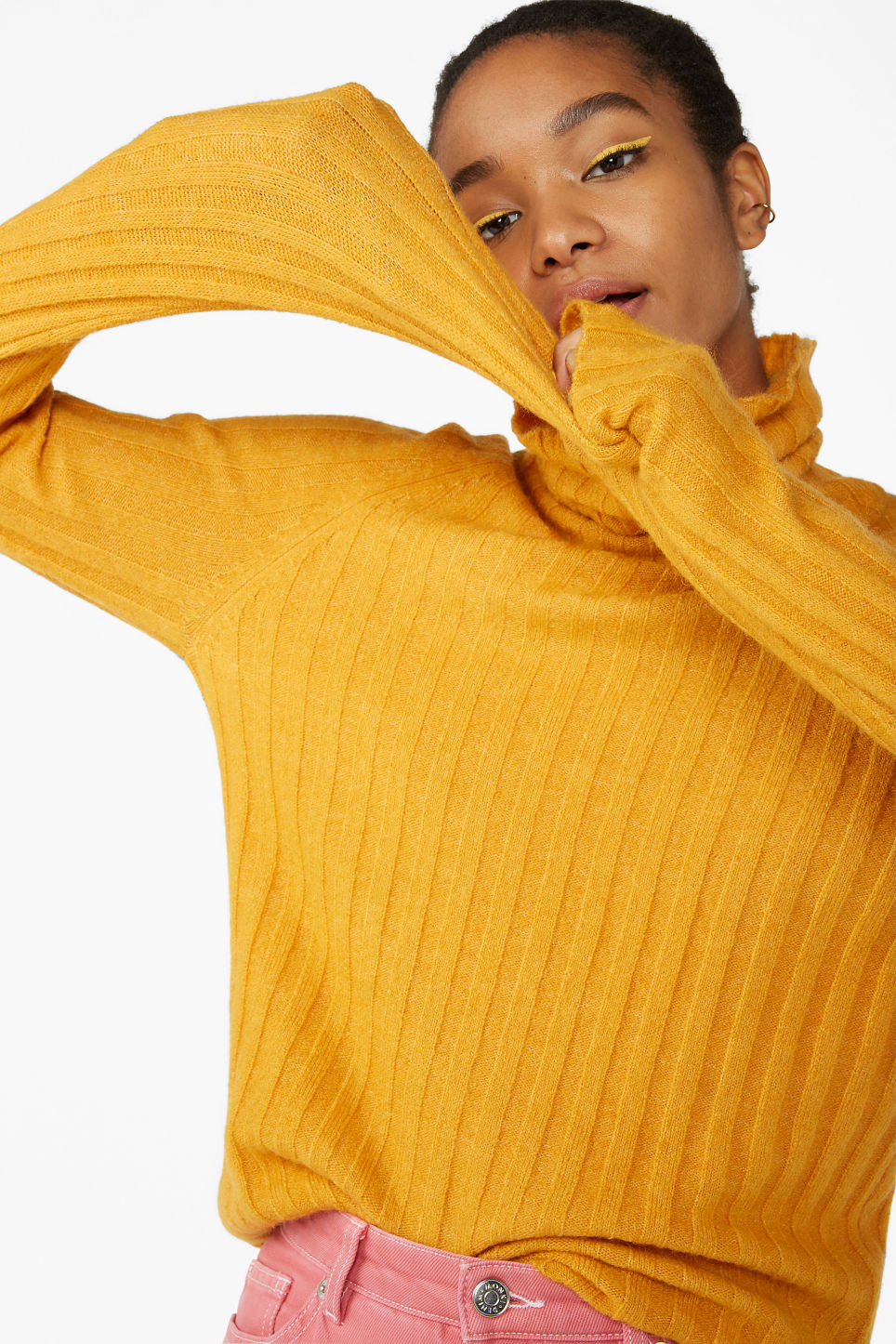 Model front image of Monki knit turtleneck sweater in yellow