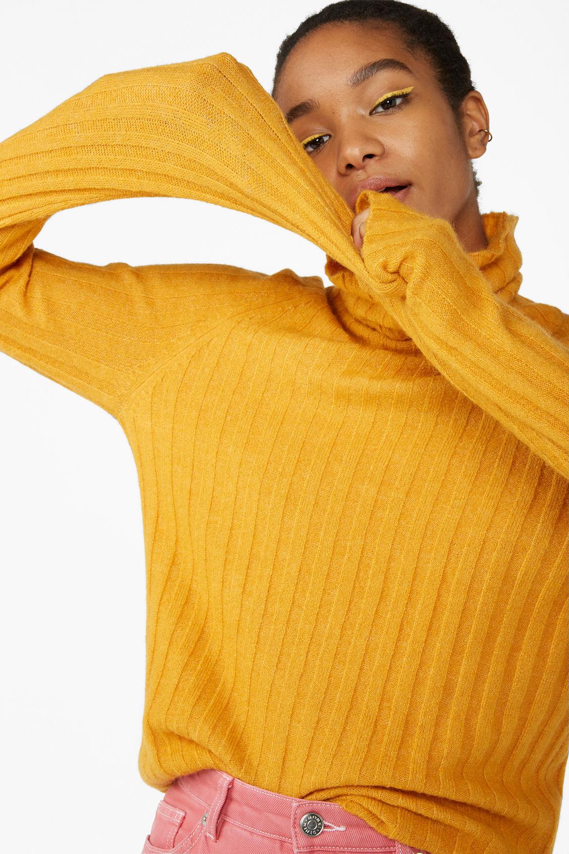 Knit Turtleneck Sweater Mustard Yellow Knitwear Monki