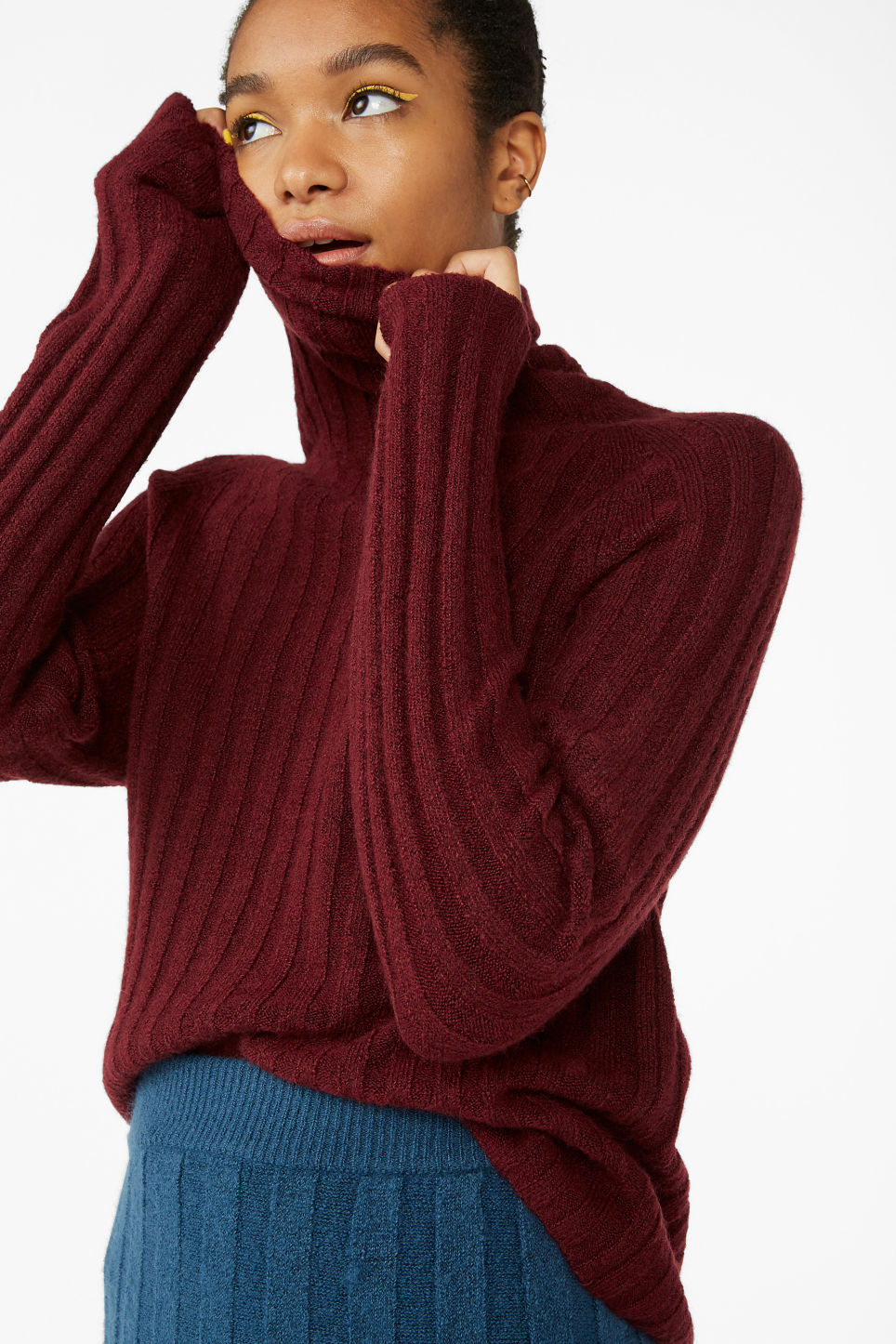Model front image of Monki knit turtleneck sweater in red