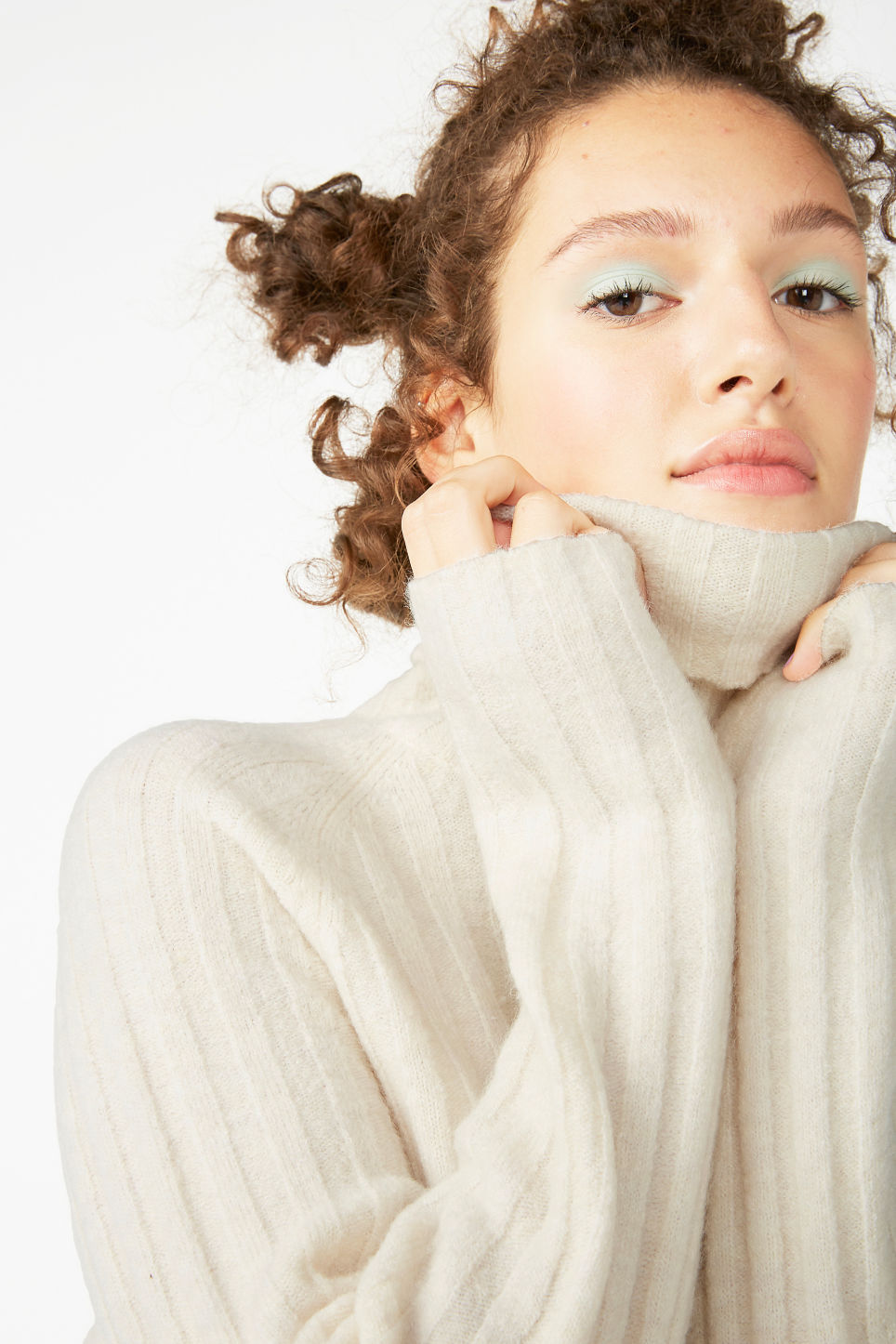 Model front image of Monki knit turtleneck sweater in white