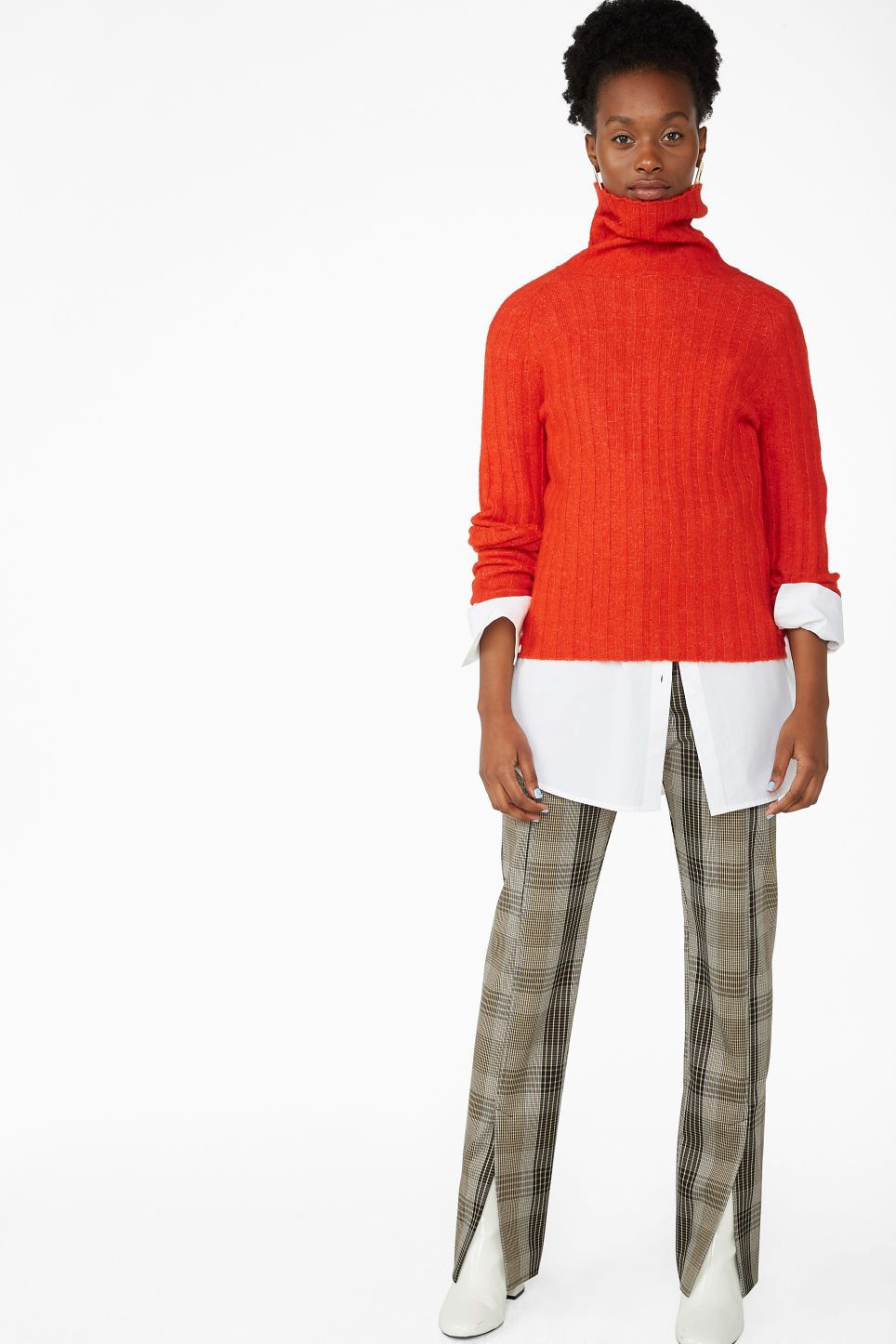 Model front image of Monki knit turtleneck sweater in orange