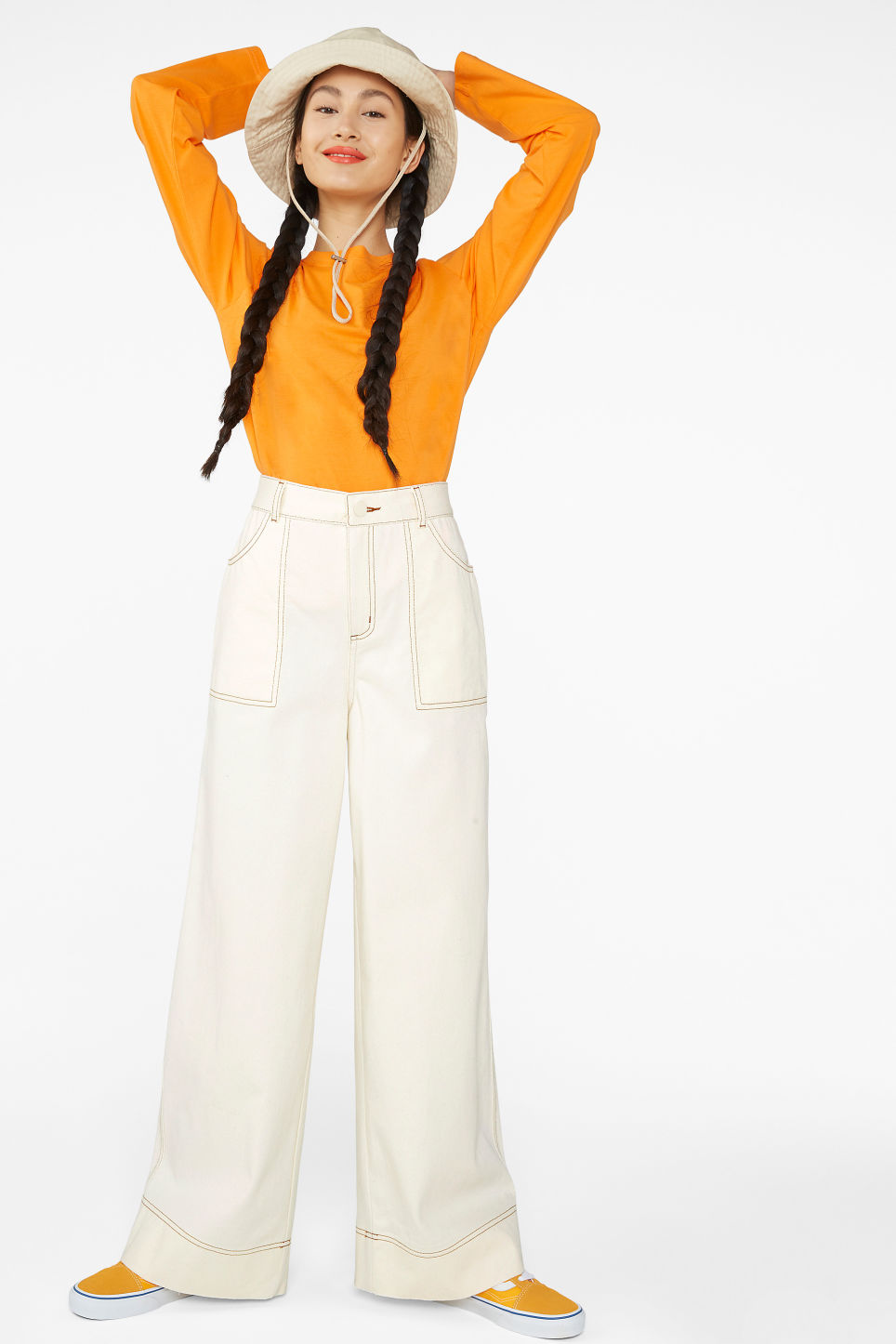 Model front image of Monki contrast stitch utility trousers in beige
