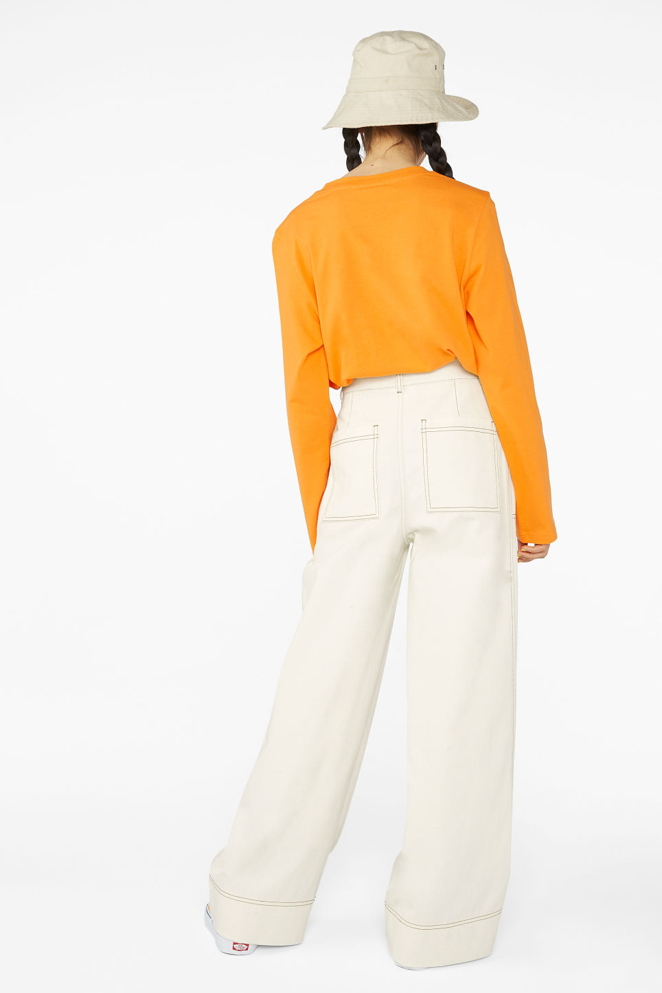 Model back image of Monki contrast stitch utility trousers in beige