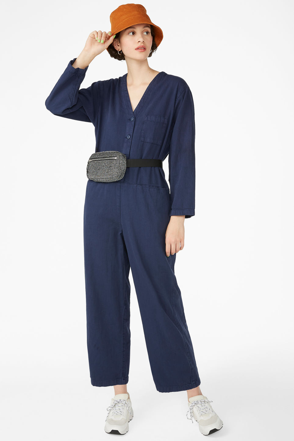 Model front image of Monki workwear jumpsuit in blue