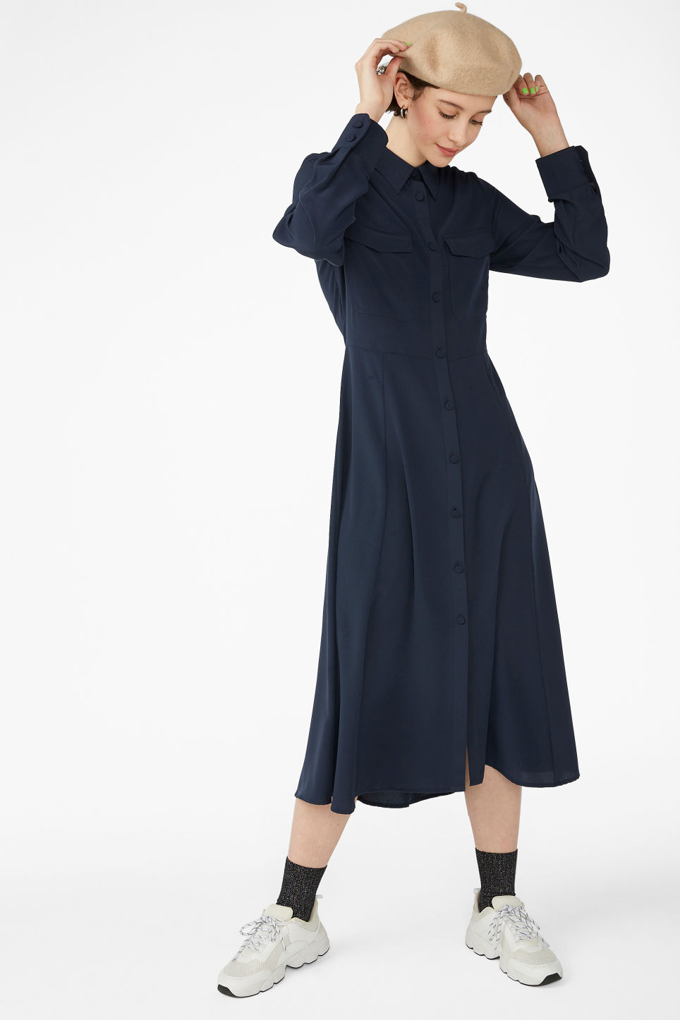 Model front image of Monki utility shirt dress in blue