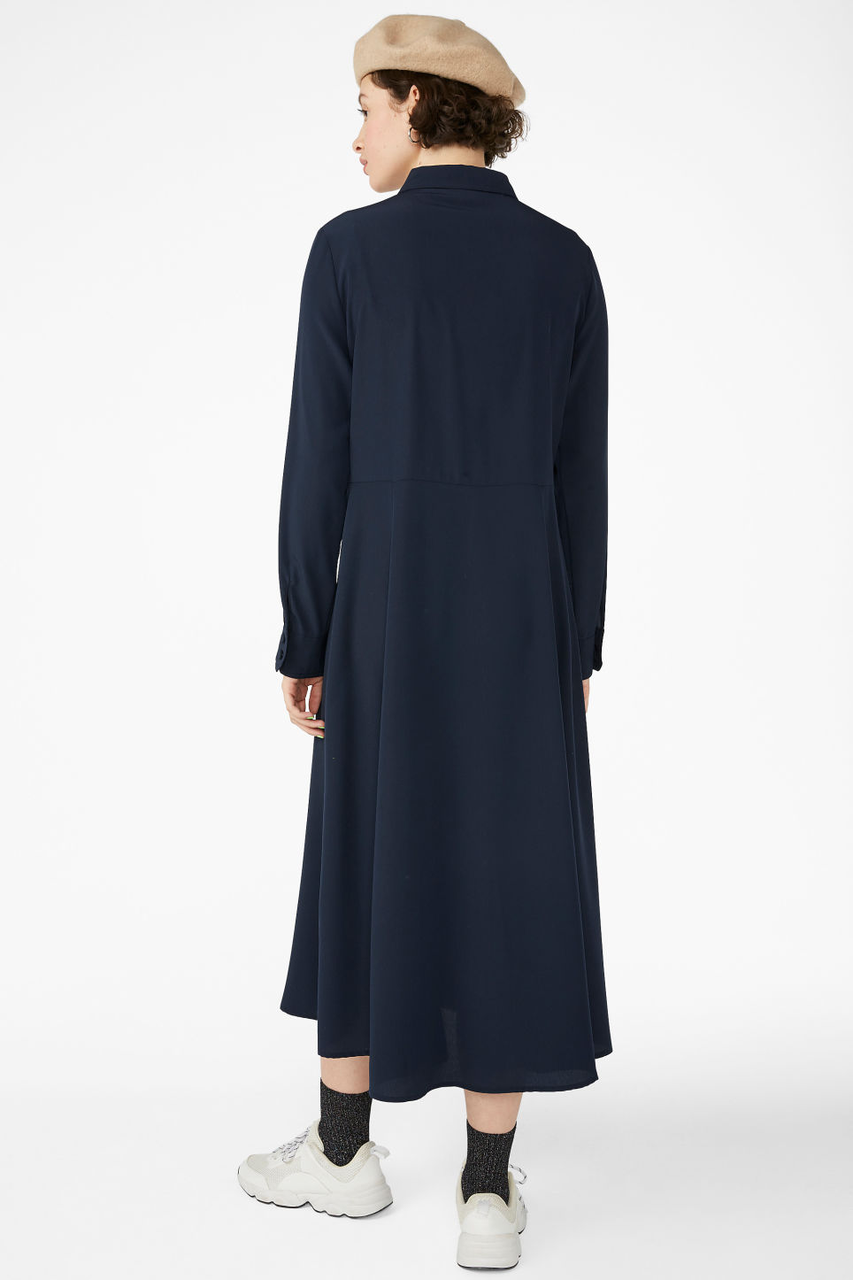 Model back image of Monki utility shirt dress in blue