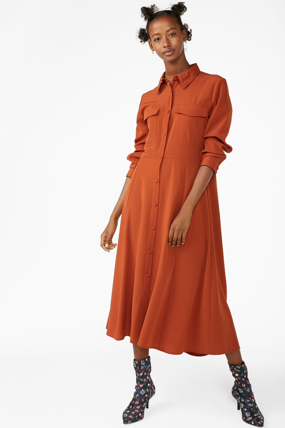 Model front image of Monki utility shirt dress in orange