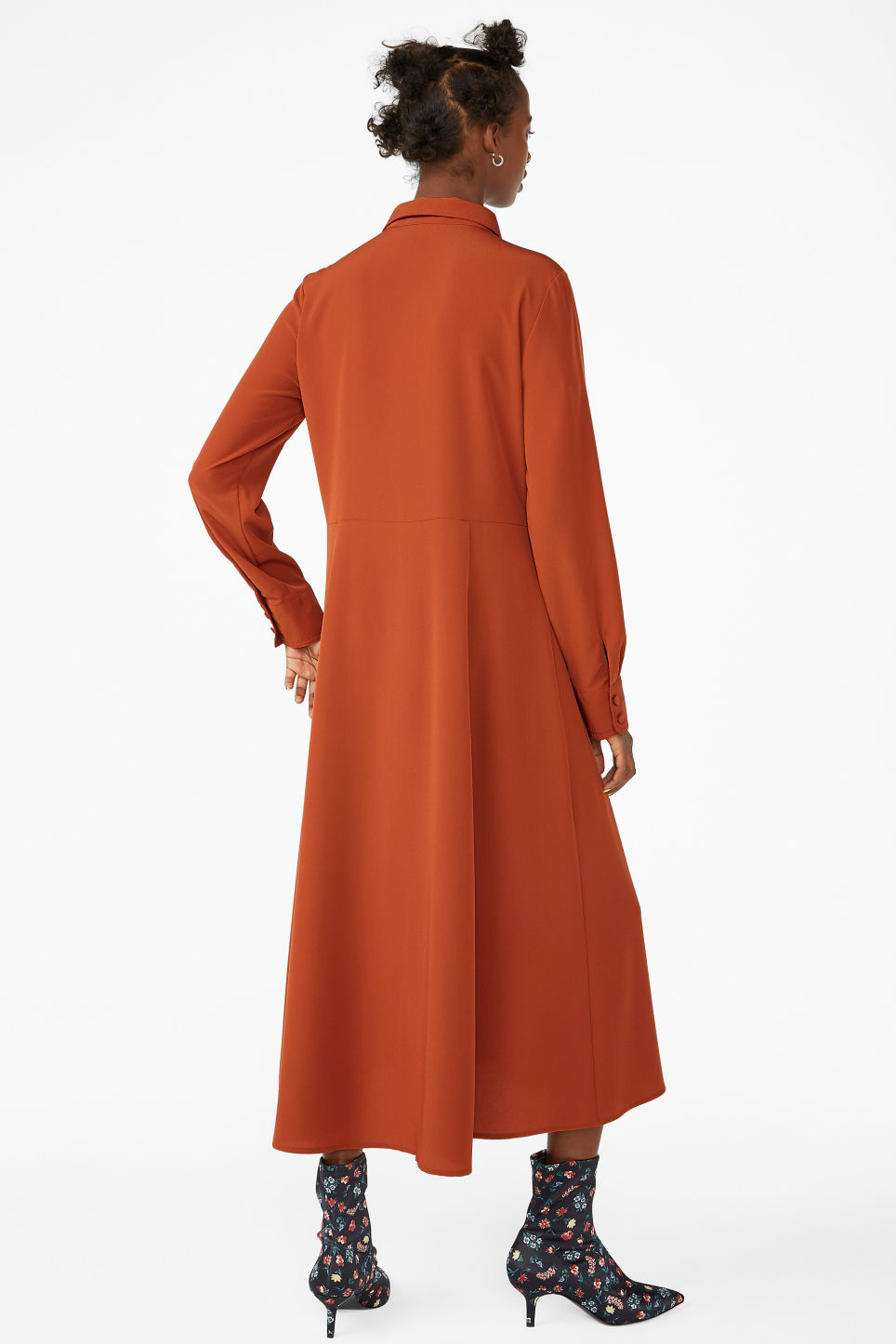 Model back image of Monki utility shirt dress in orange