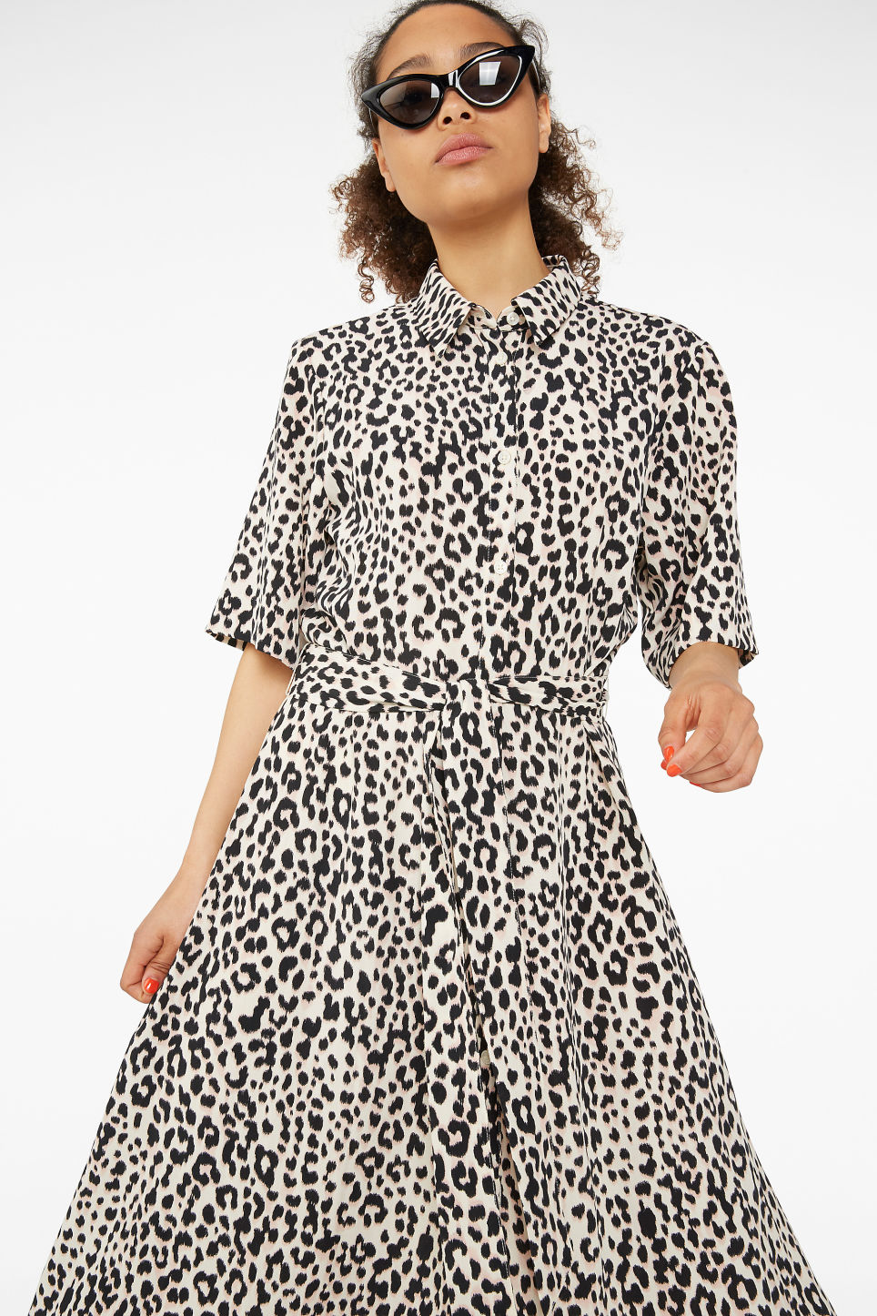Model front image of Monki belted button-up dress in beige