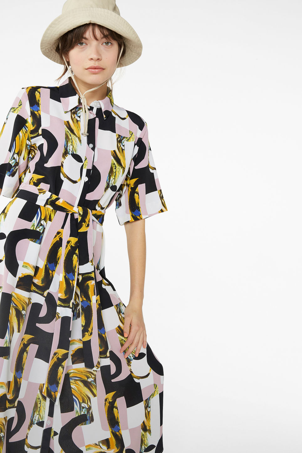 Model front image of Monki belted button-up dress in pink