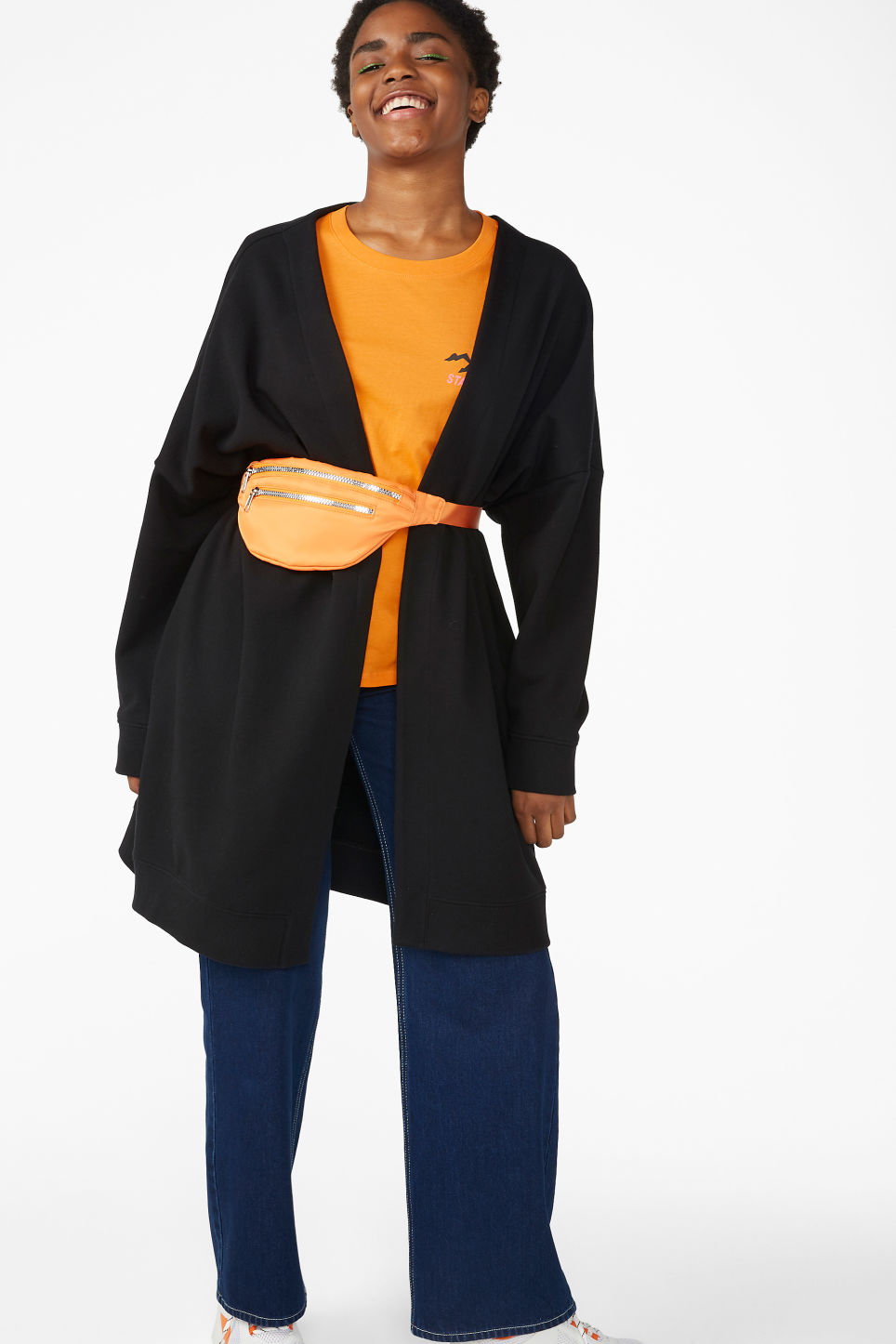 Model front image of Monki oversized cardigan in black
