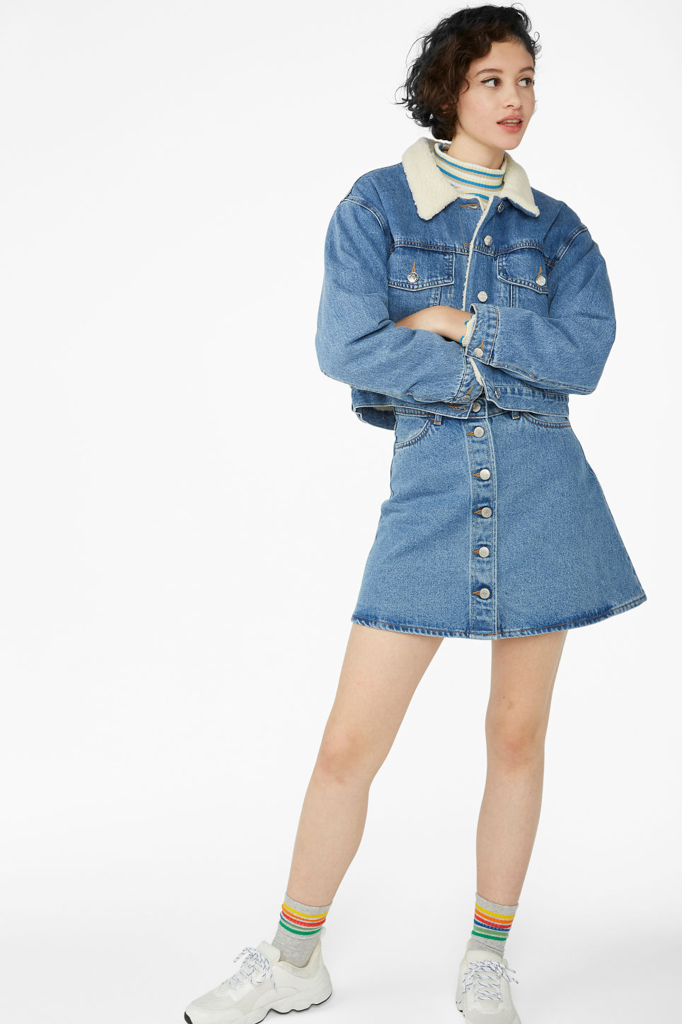 Model front image of Monki padded denim jacket in blue