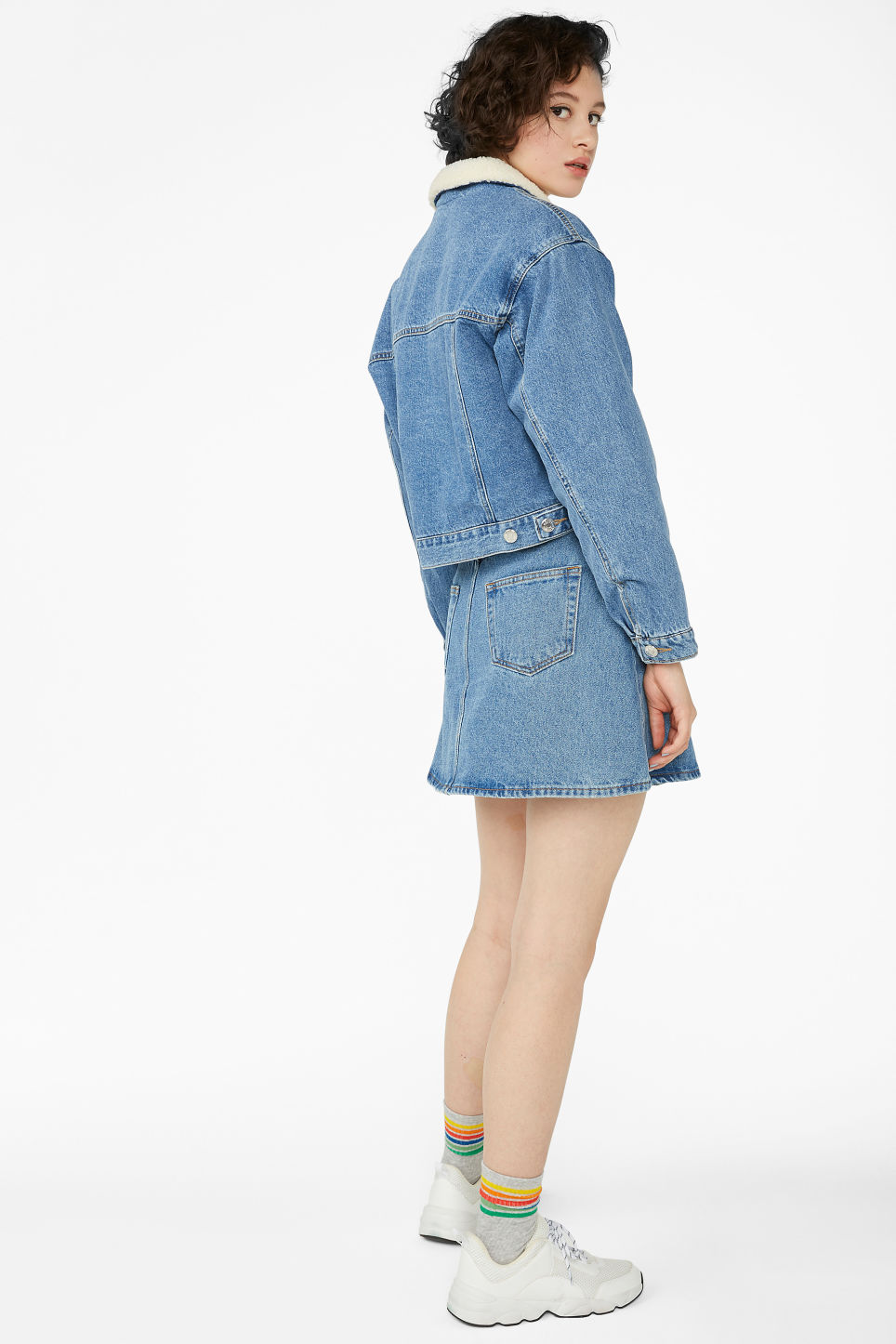 Model back image of Monki padded denim jacket in blue
