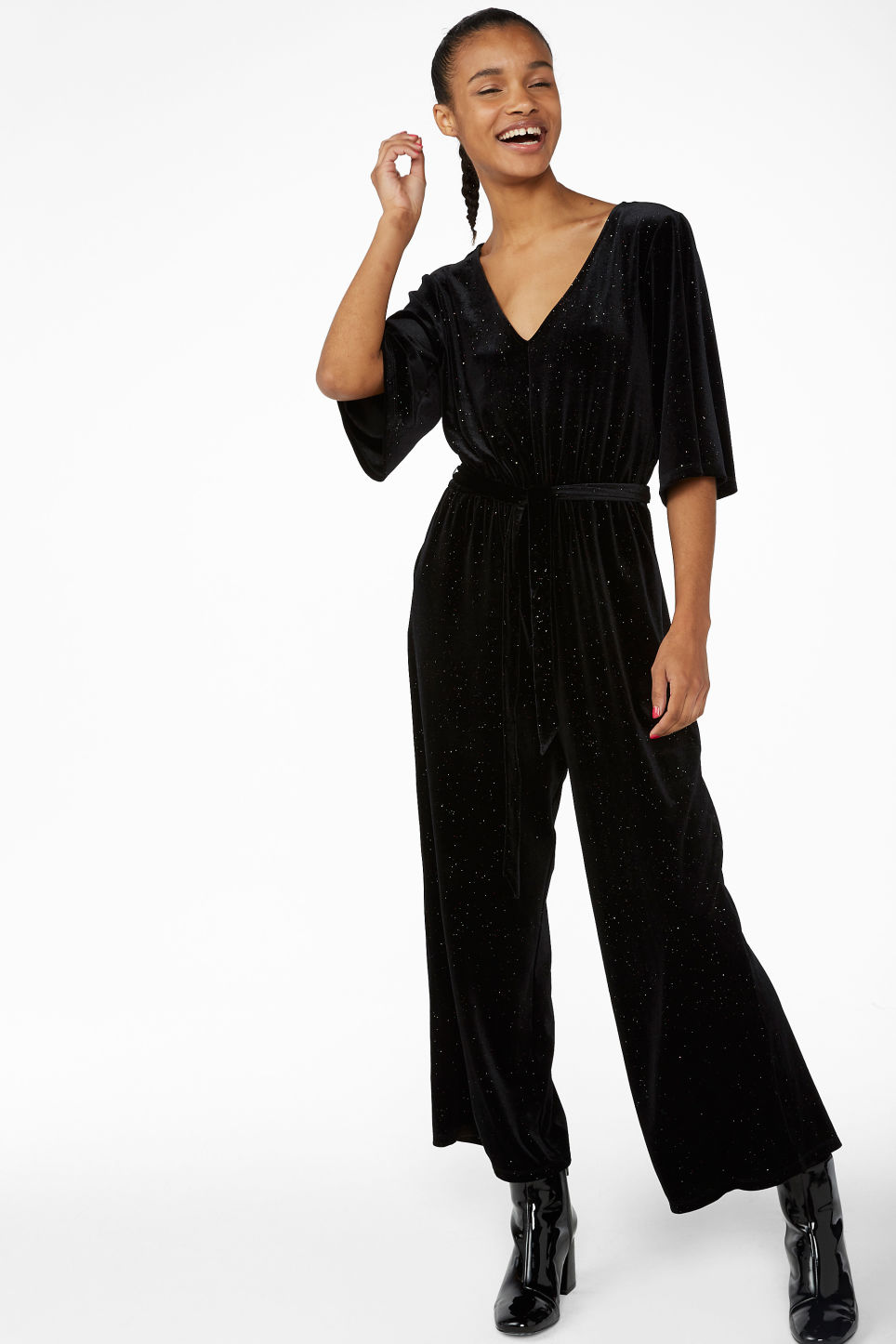 Model front image of Monki velvet jumpsuit in black