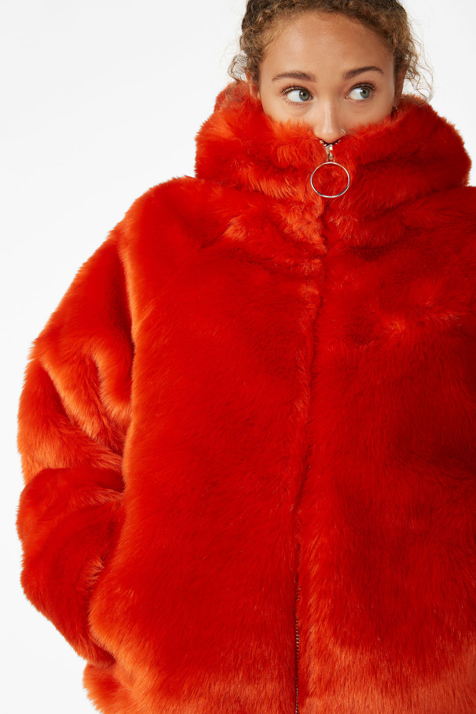 Model front image of Monki hooded faux fur jacket in orange