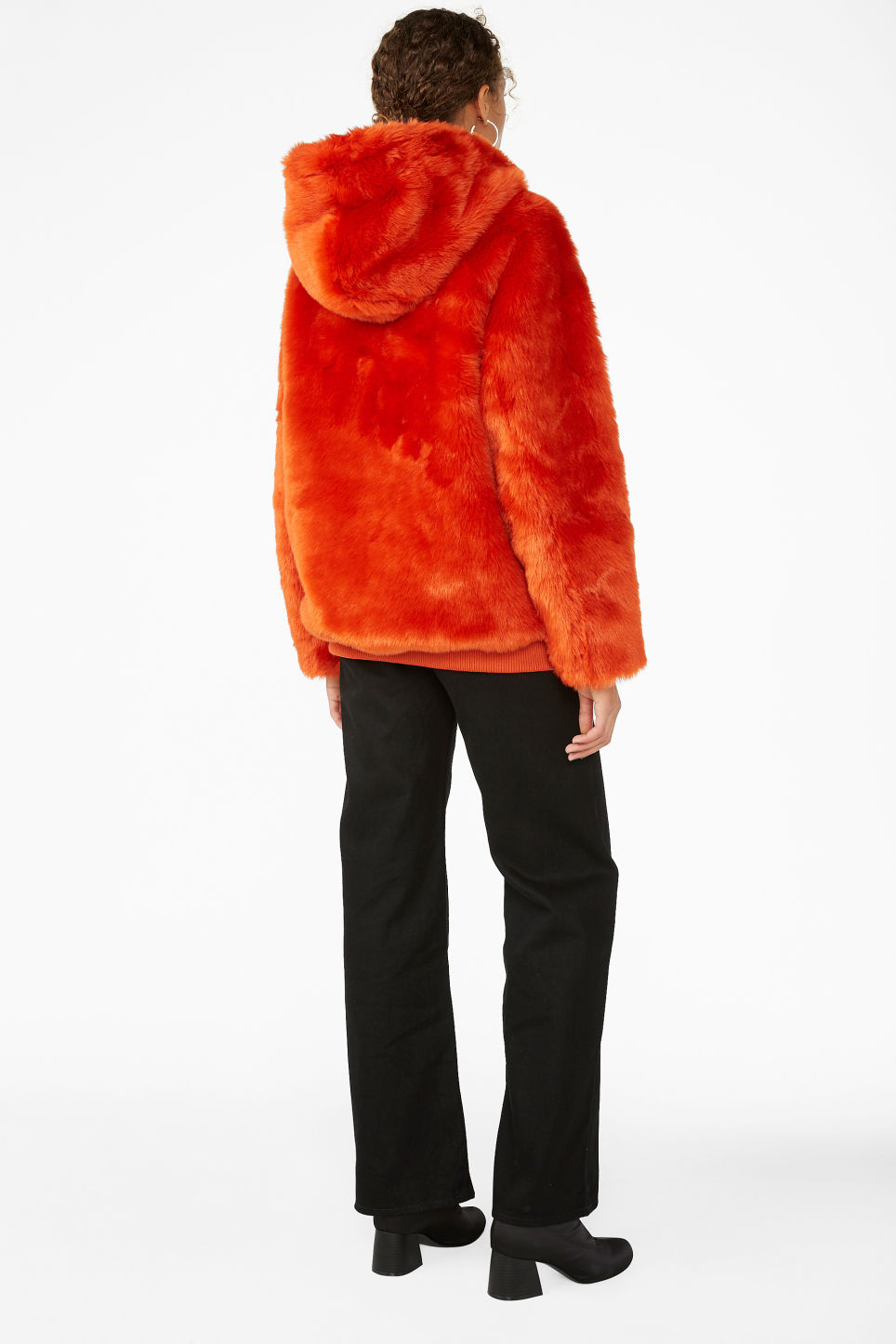 Model back image of Monki hooded faux fur jacket in orange