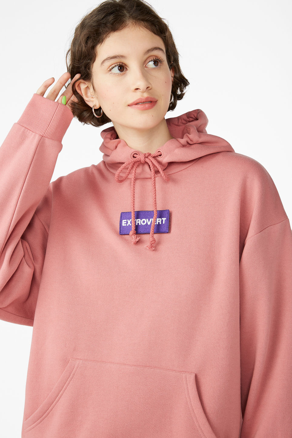 Model front image of Monki swap-it hoodie in pink