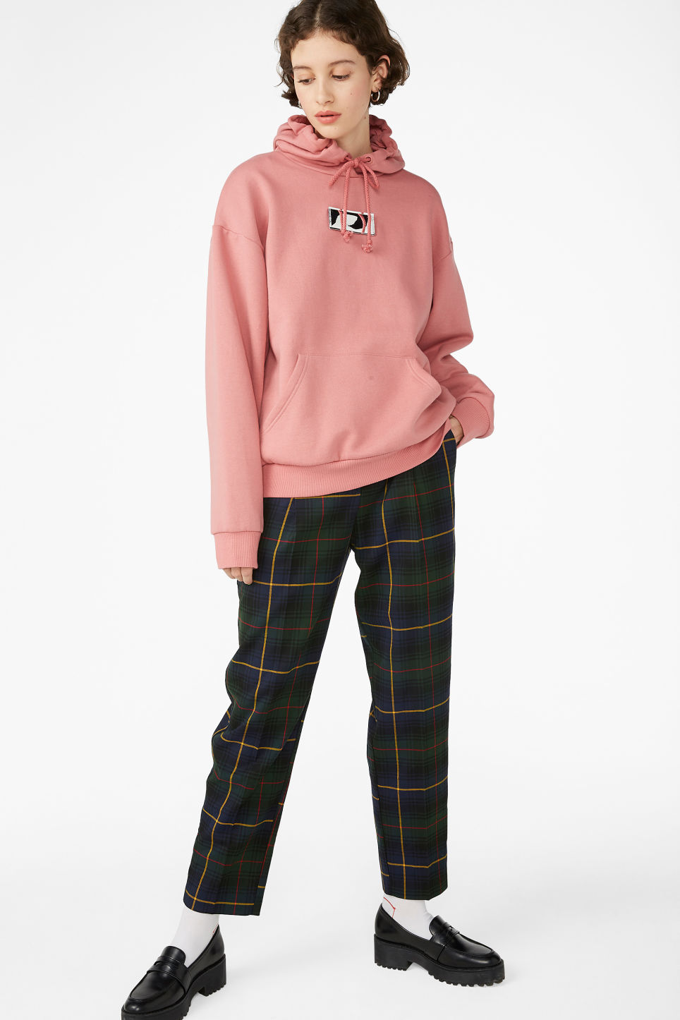 Model side image of Monki swap-it hoodie in pink