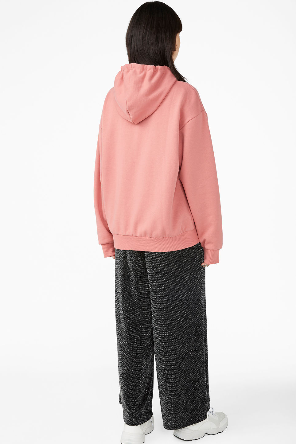 Model back image of Monki swap-it hoodie in pink