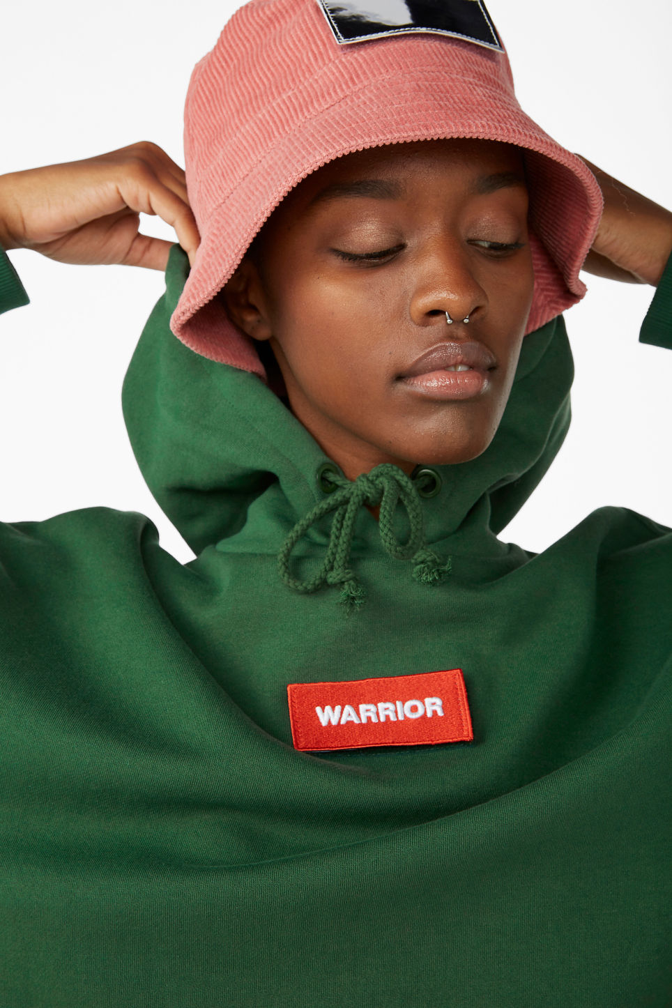 Model front image of Monki swap-it hoodie in green