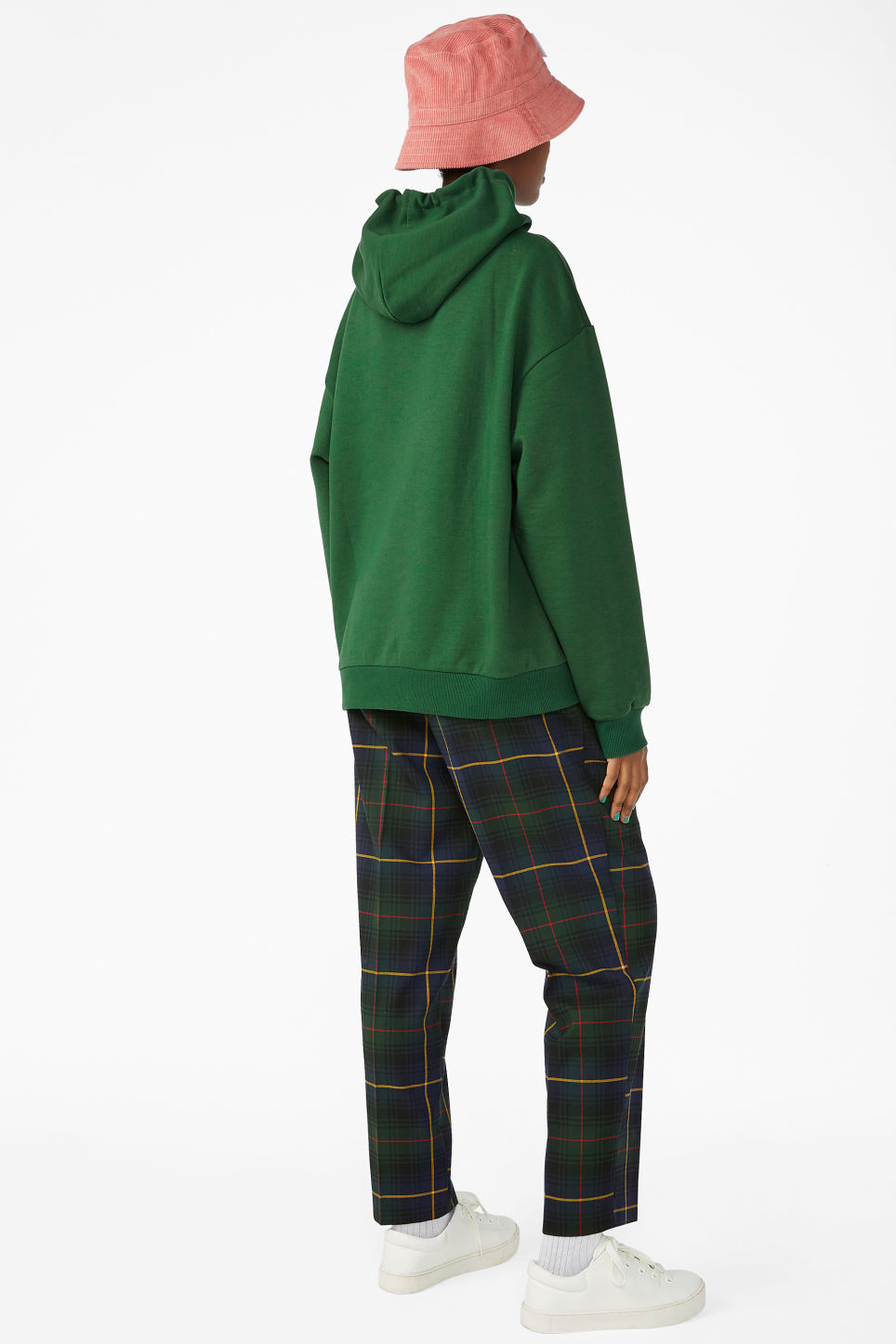 Model back image of Monki swap-it hoodie in green