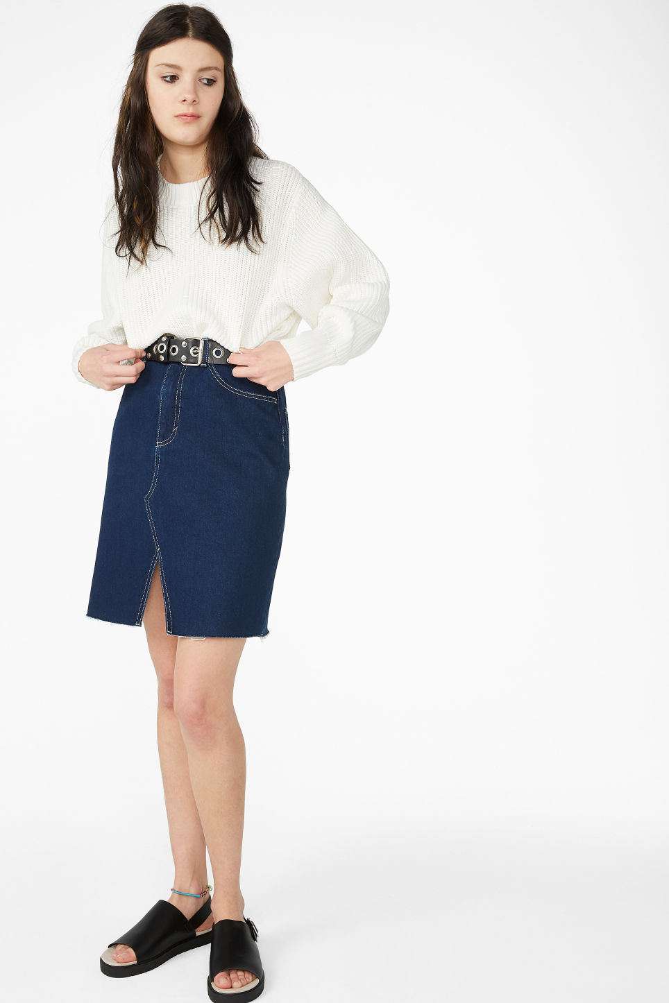 Model front image of Monki denim skirt in blue