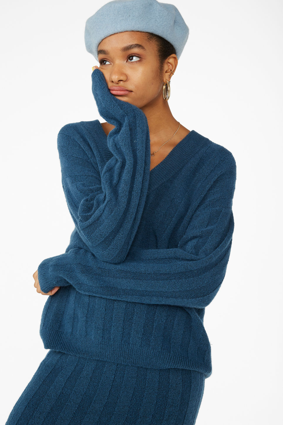 Model front image of Monki ribbed knit top in blue