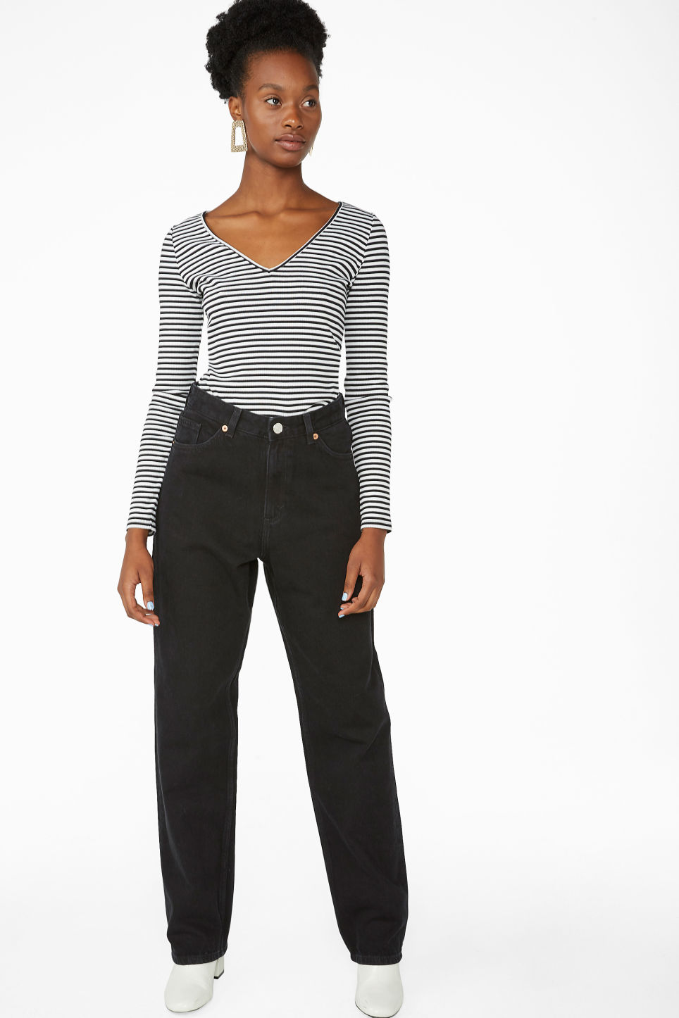 Model side image of Monki v-neck top in white
