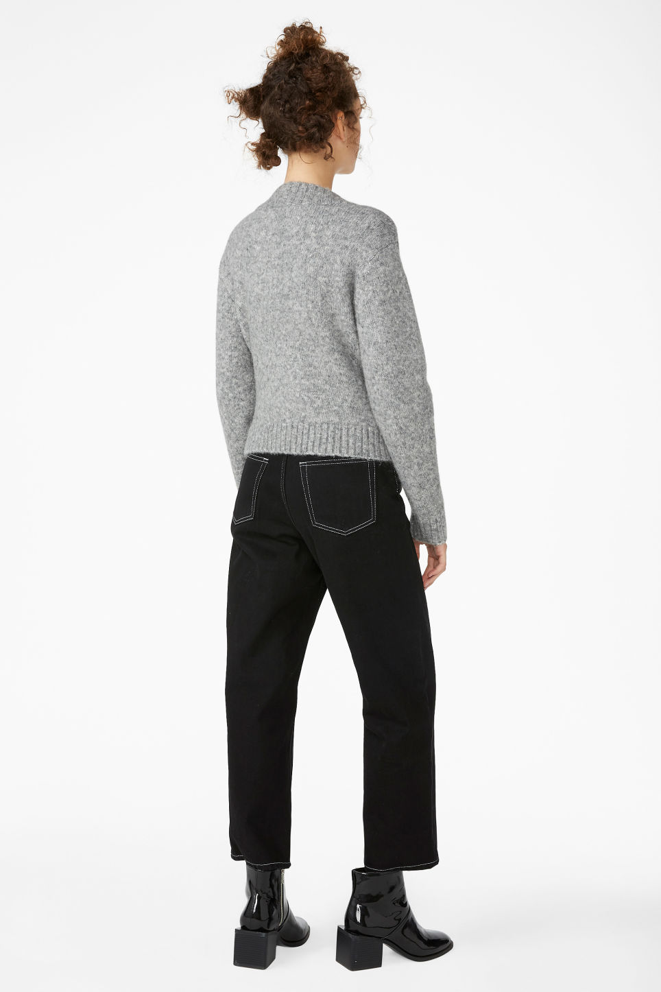 Model back image of Monki knitted wrap top in grey