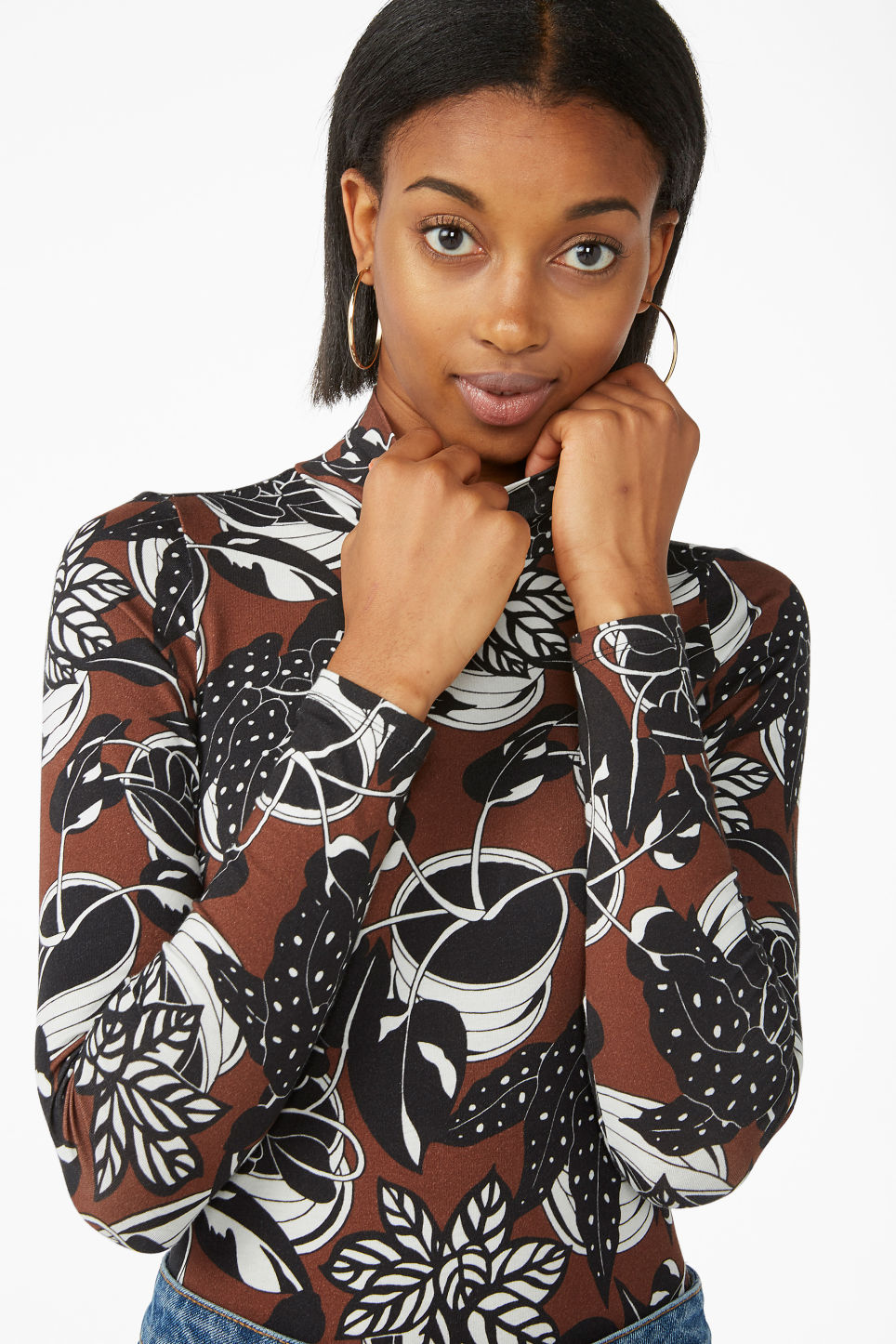 Model front image of Monki turtleneck body in orange