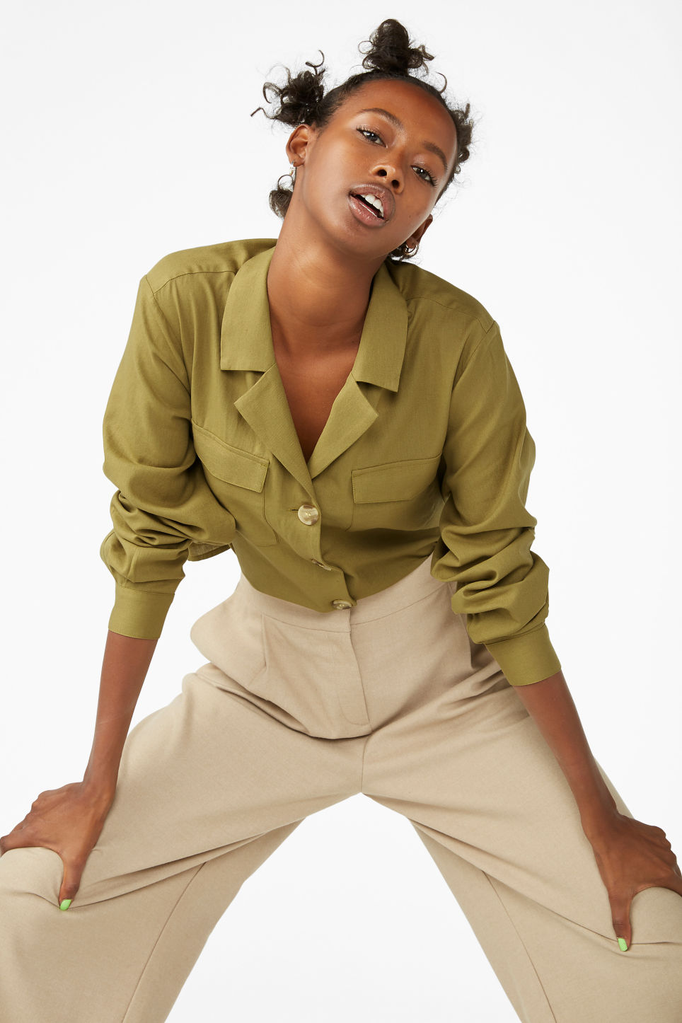 Model front image of Monki utility blouse in beige