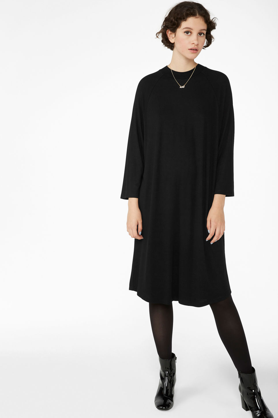 Model front image of Monki long t-shirt dress in black