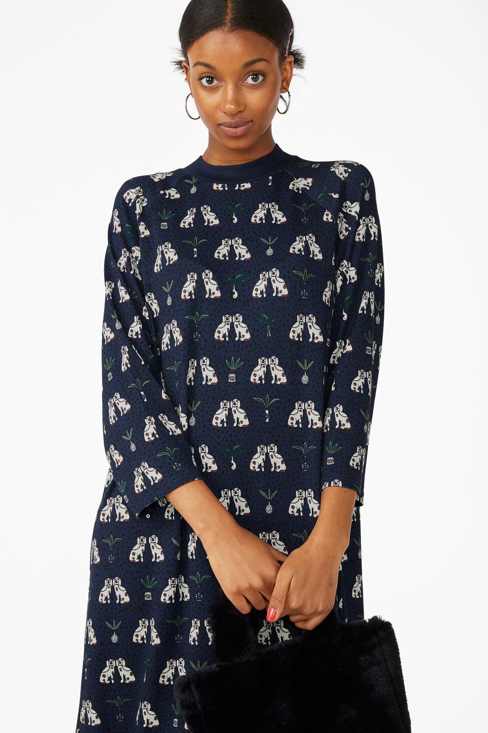 Model front image of Monki long t-shirt dress in blue