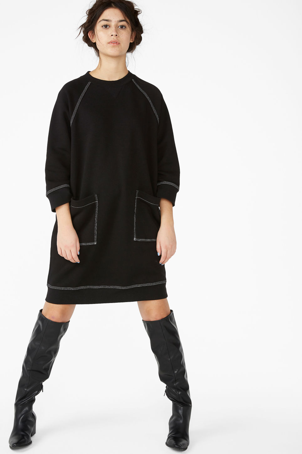 Model front image of Monki long sweater dress in black