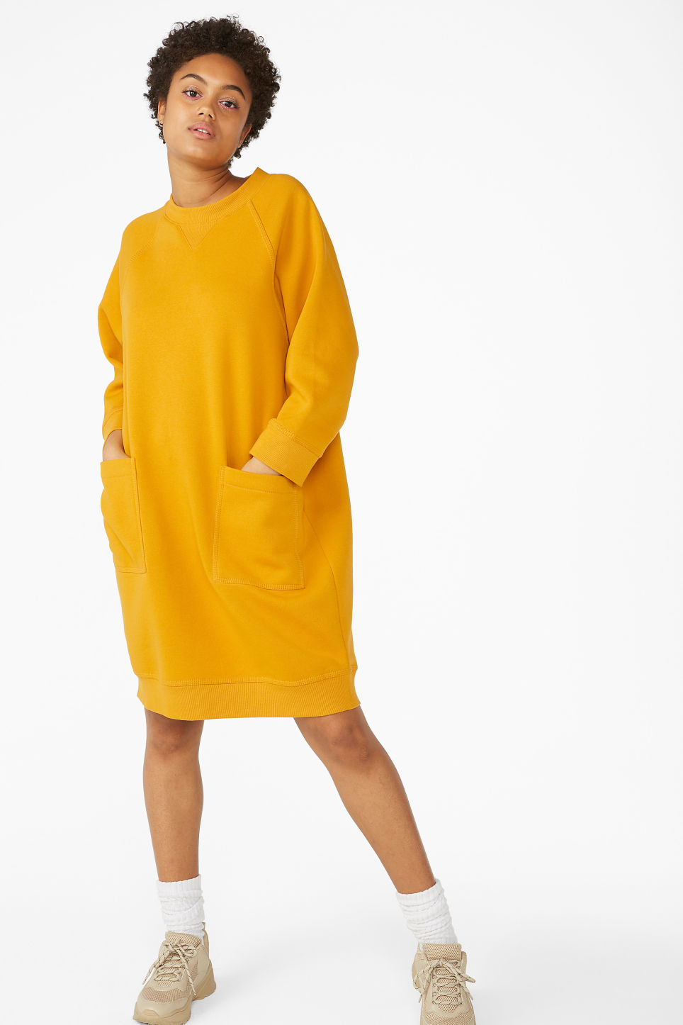Model front image of Monki long sweater dress in yellow