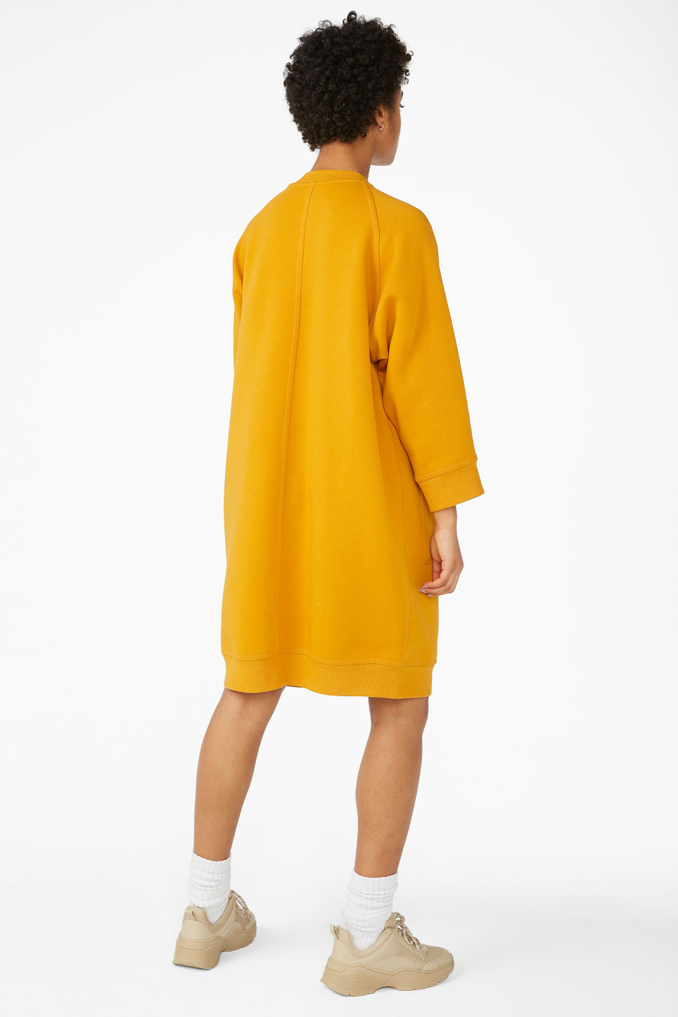 Model back image of Monki long sweater dress in yellow